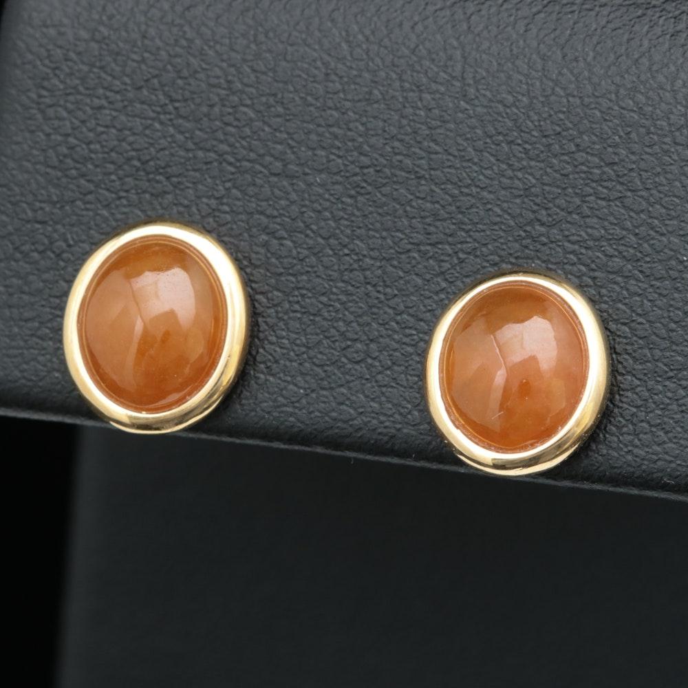 14K Yellow Gold and Orange Jadeite Earrings
