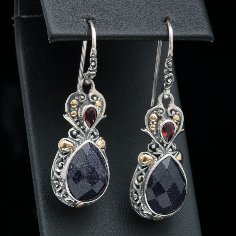 Robert Manse Sterling SIlver, 18K Gold, Goldstone Glass and Garnet Earrings