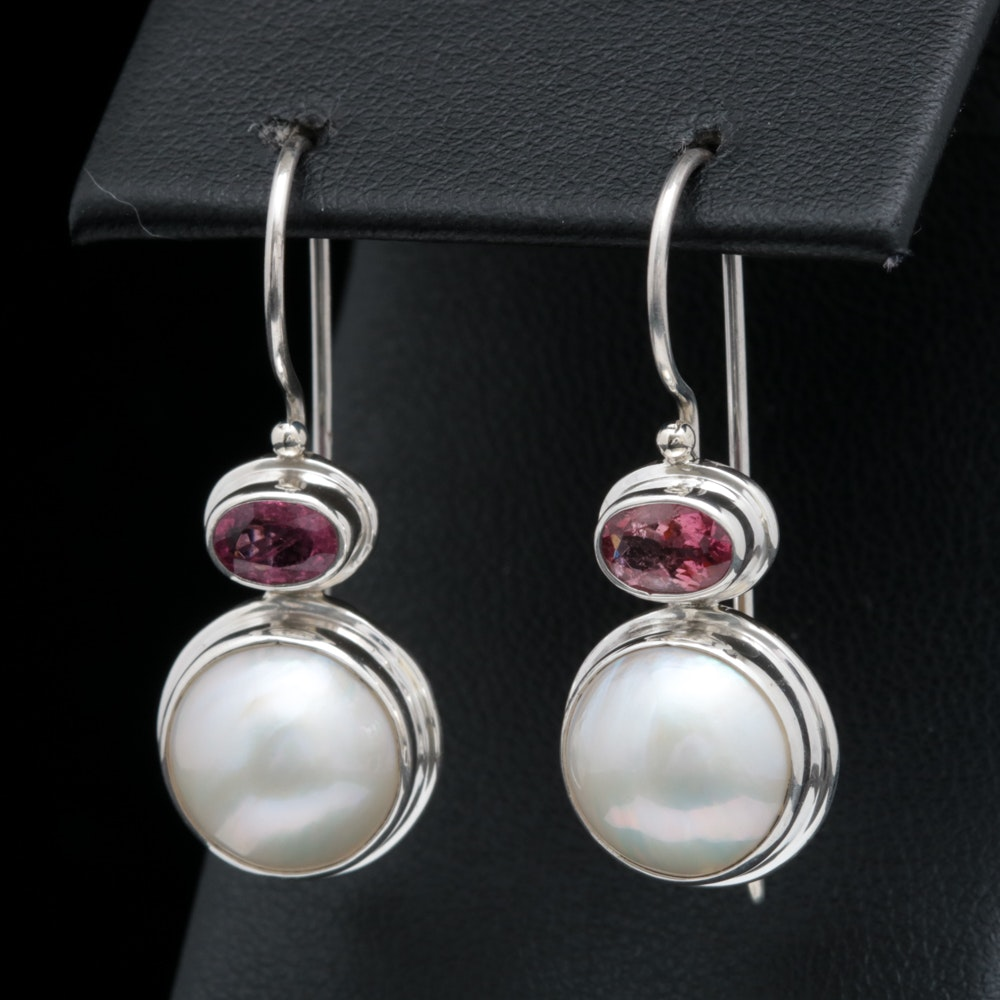 Sterling Silver, Mabé Pearl and Pink Tourmaline Earrings