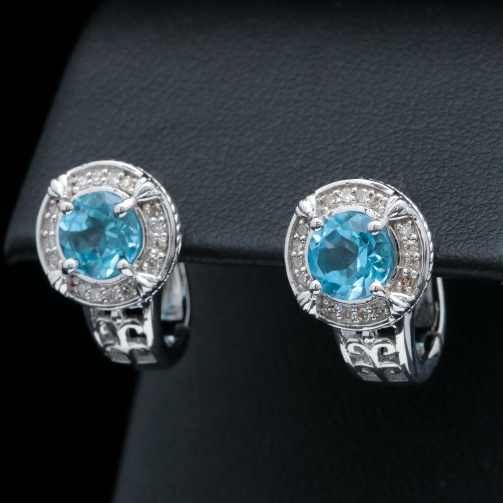 Sterling Silver, Blue Topaz and Diamond Earrings