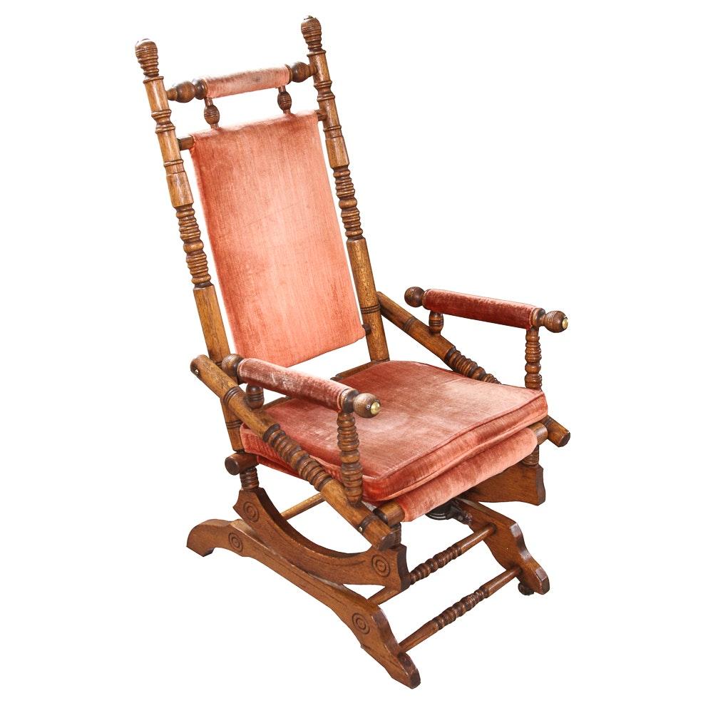 Antique Victorian Eastlake Upholstered Oak Platform Rocking Chair ...
