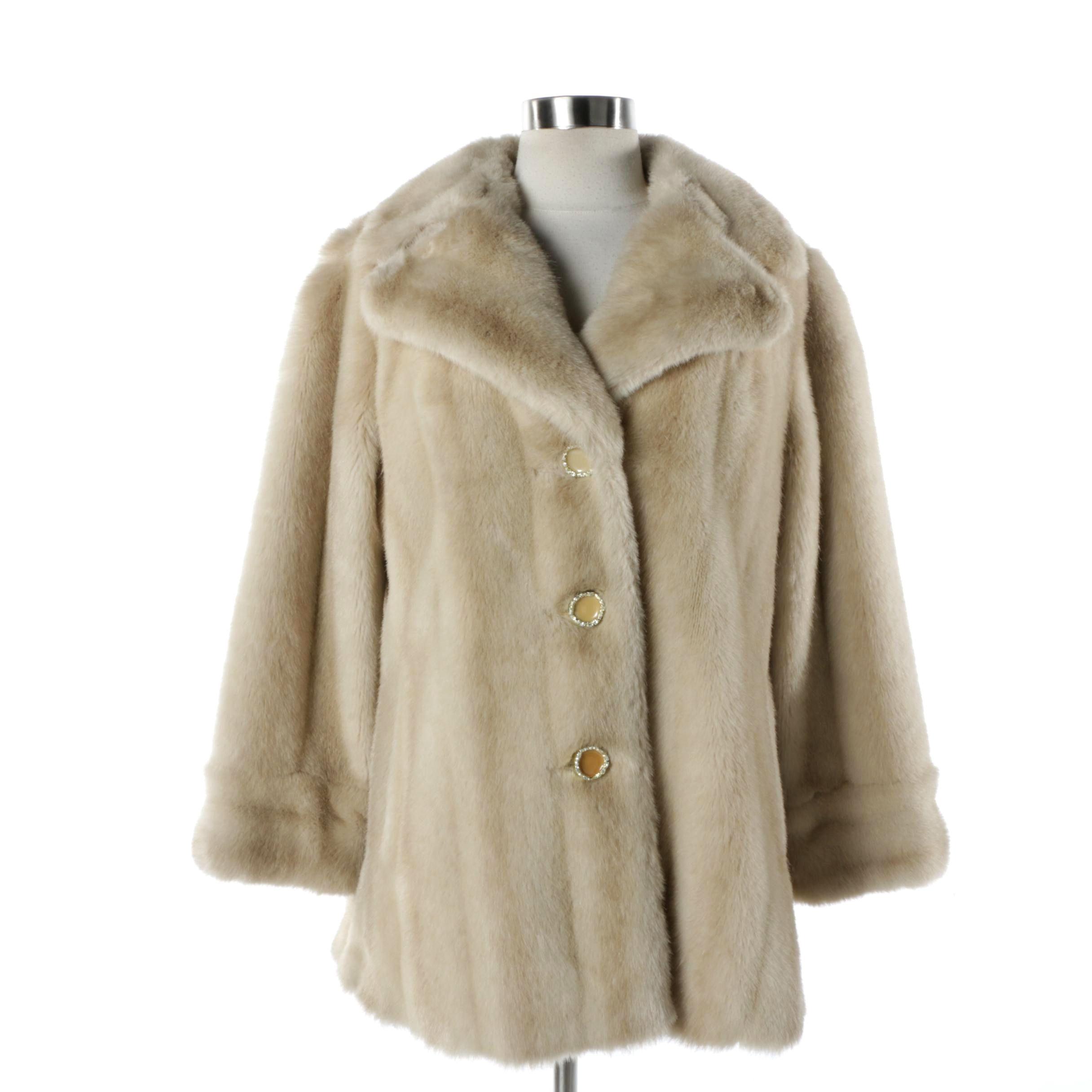 Women's Vintage Mincara Faux Mink Fur Coat