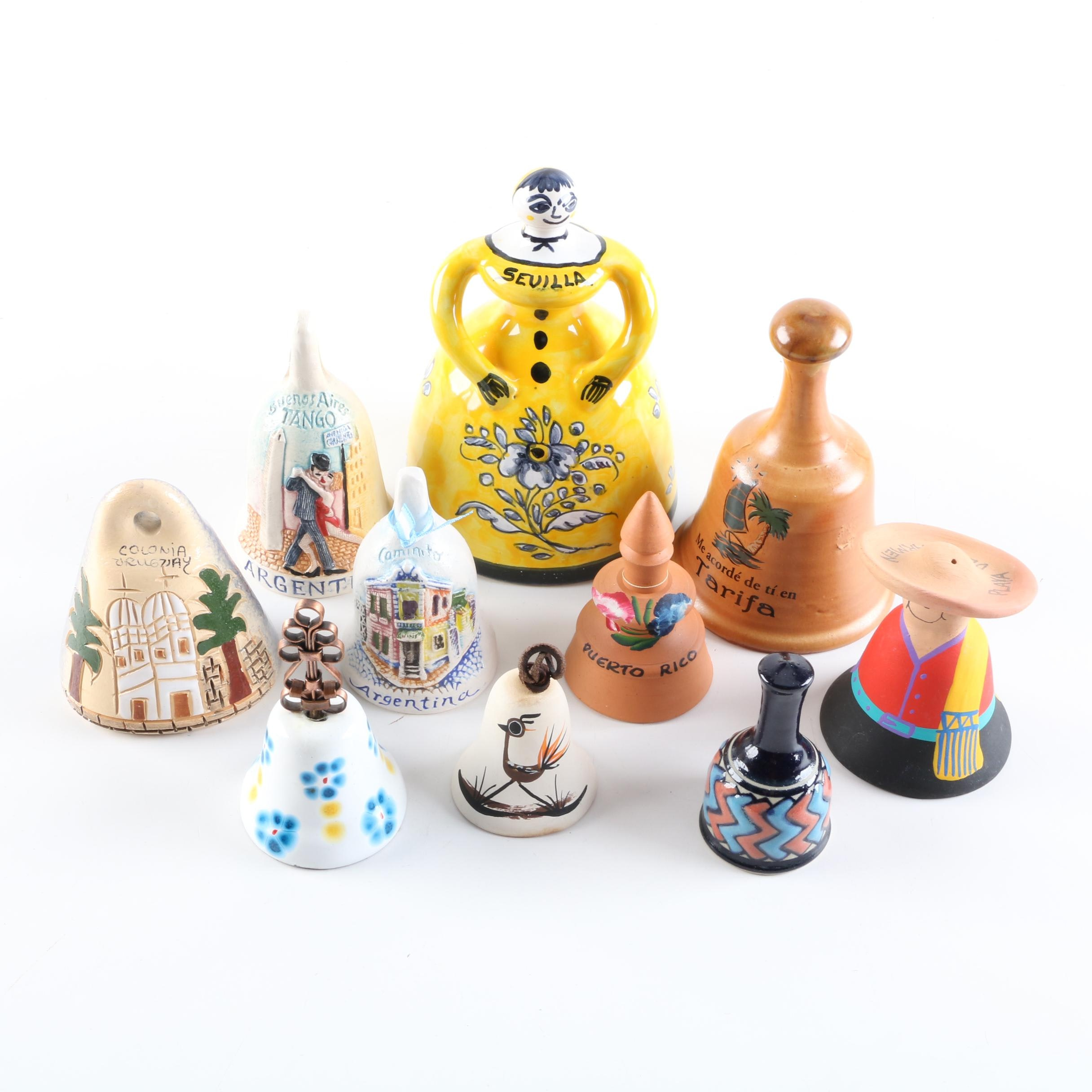 Souvenir Bells, Including Argentina, Uruguay, Sevilla, Mexico and Others
