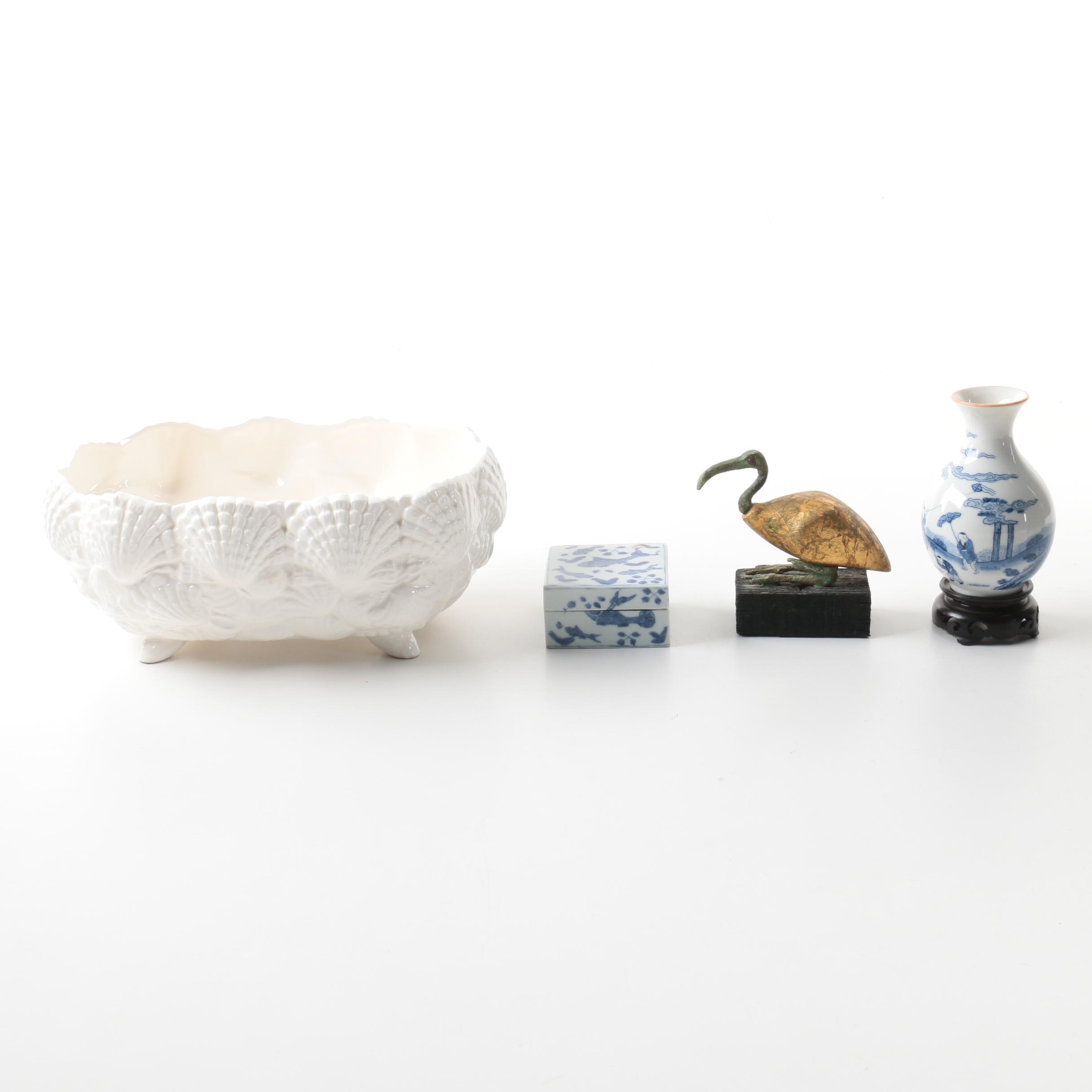 Chinese Blue and White Vase, White Ceramic Shell Dish and Others