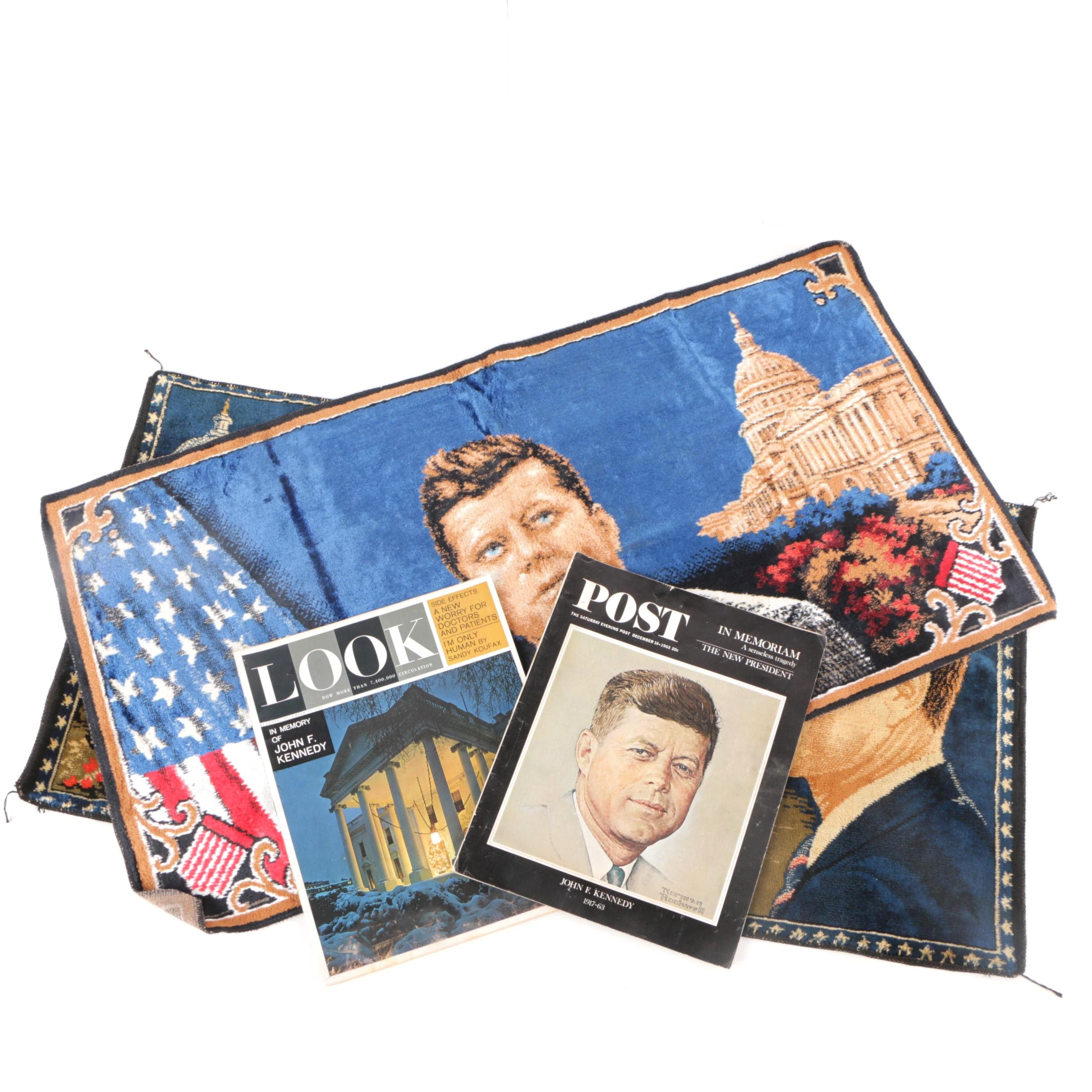 John F. Kennedy Cloth Tapestries and Memorial Magazines