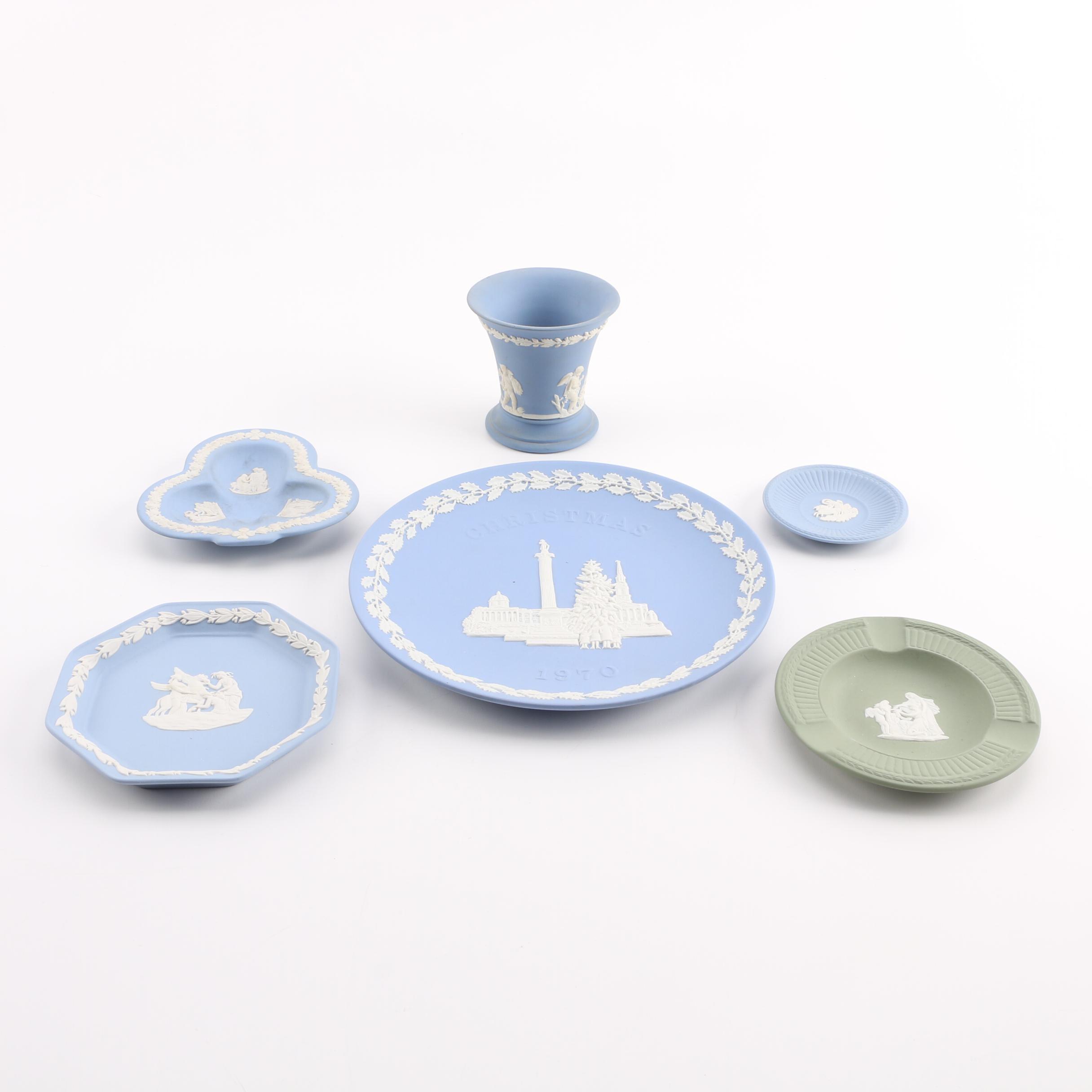Wedgwood Cream on Pale Blue and Celadon Jasperware