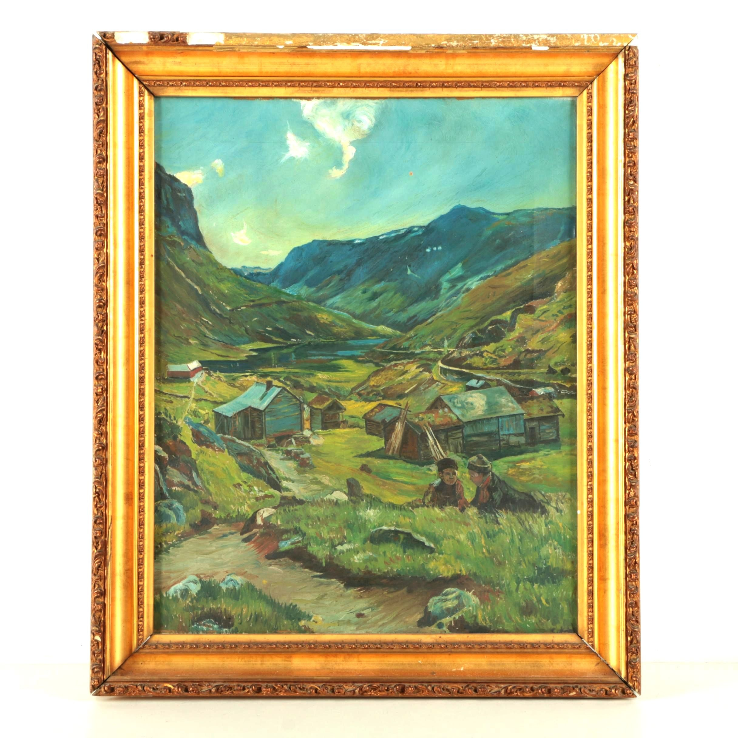 Oil Painting on Canvas of Pastoral Village