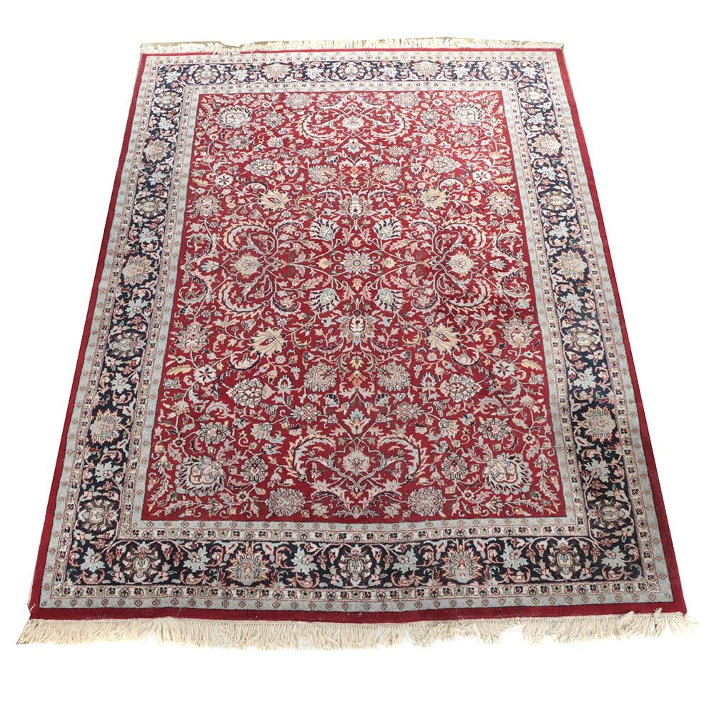 Hand-Knotted Persian-Inspired Wool Area Rug