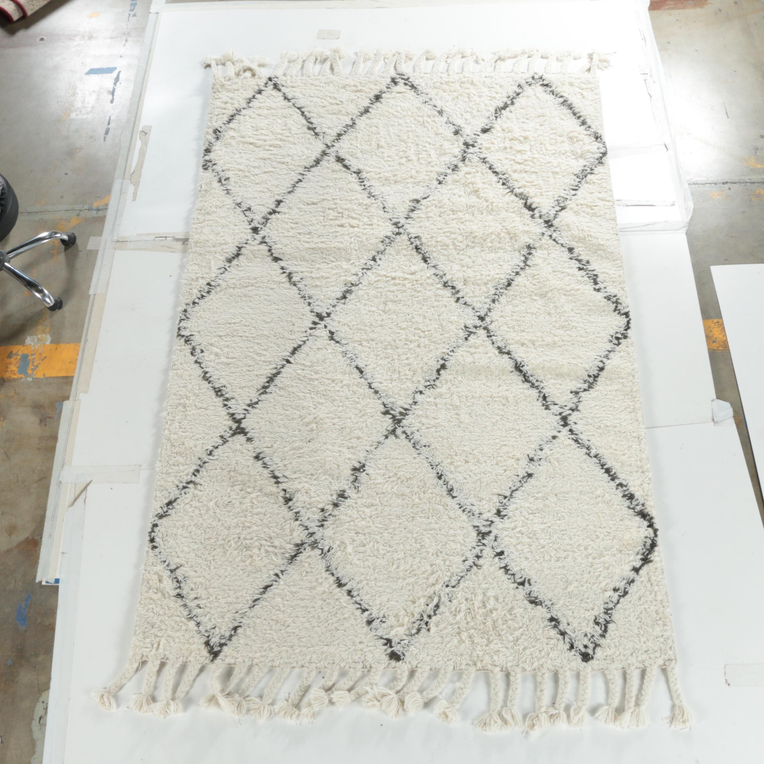 Hand-Knotted Moroccan Beni Ourain Area Rug