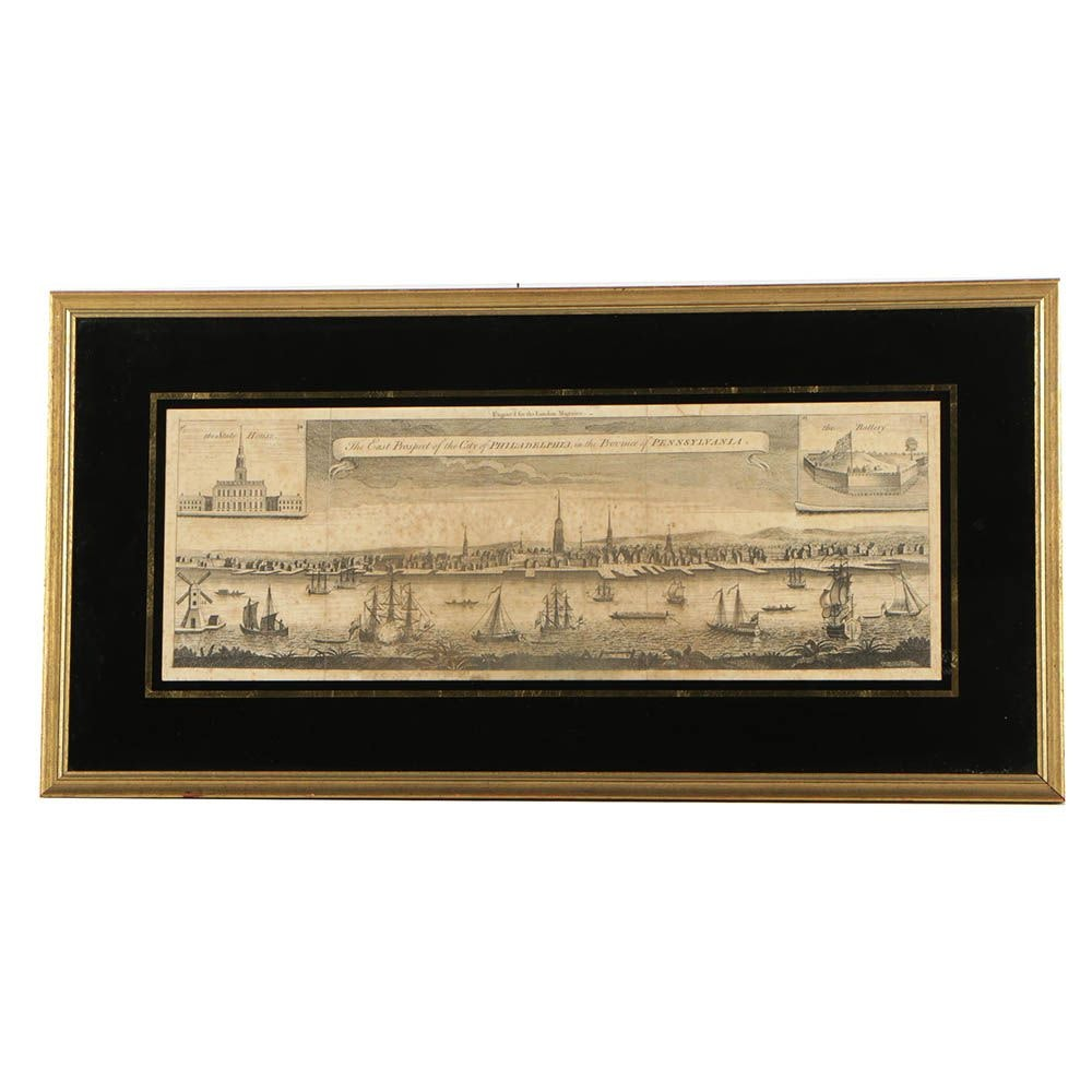 "Framed Etching ""The East Prospect of the City of Philadelphia"""