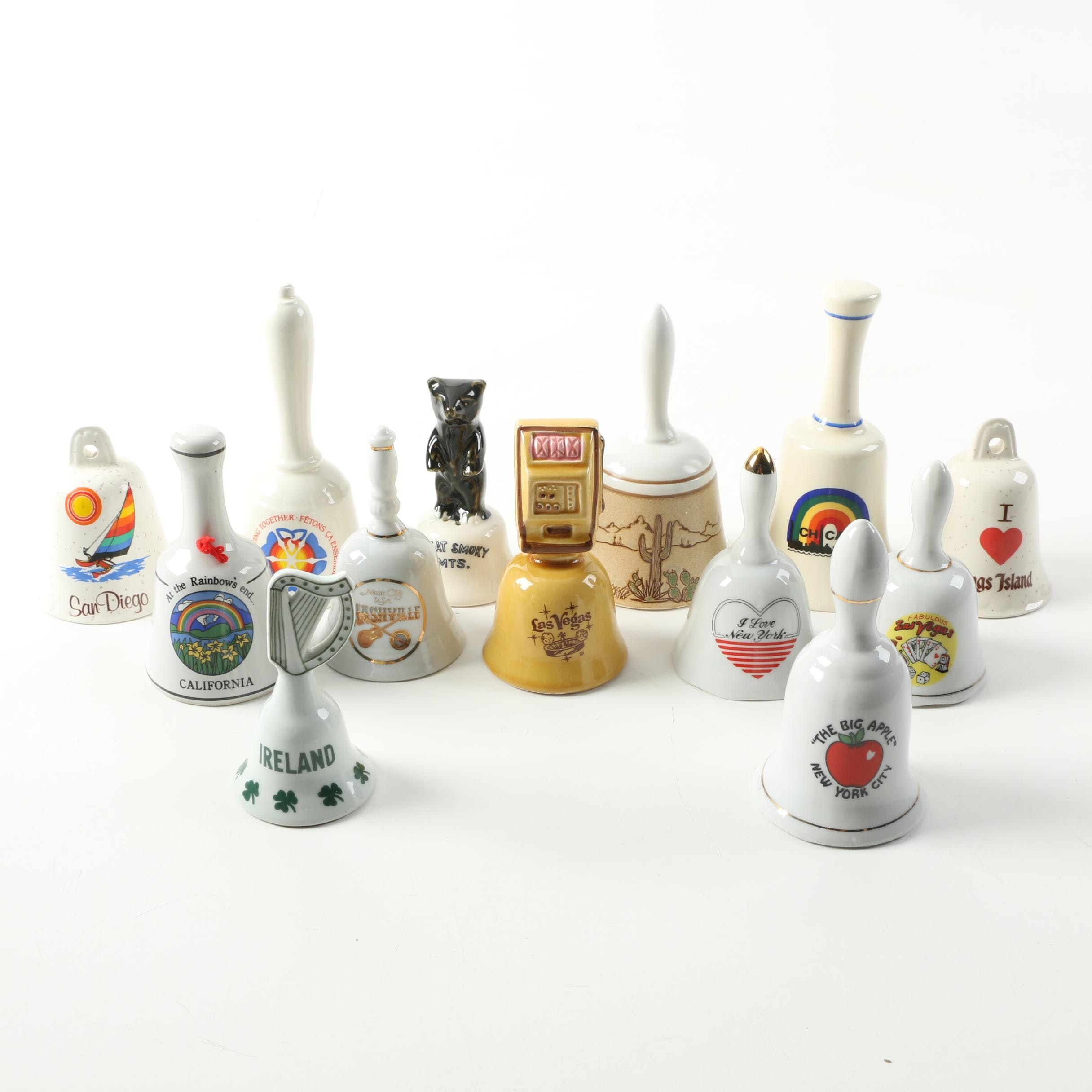 Souvenir Bells, Including Ireland, California, NYC, Chicago and Others
