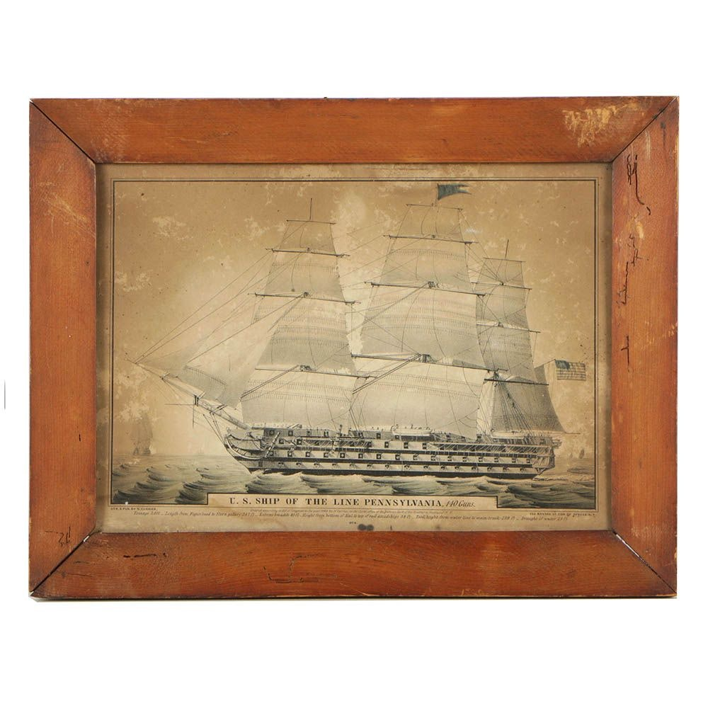 """Antique Lithograph """"U.S. Ship of the Line Pennsylvania"""" Published by N. Currier"""