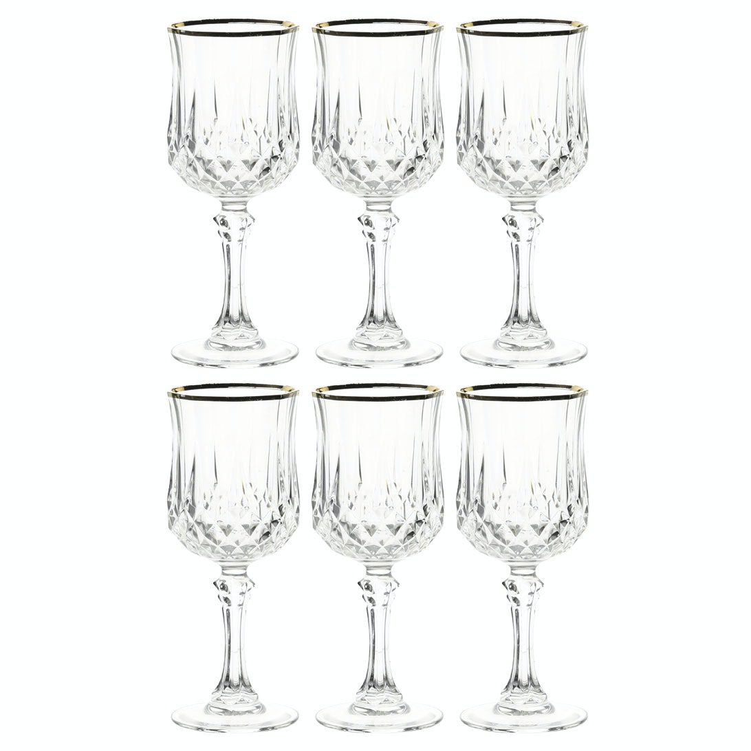 "Cristal D'Arques-Durand ""Longchamp Gold"" Wine Glasses"