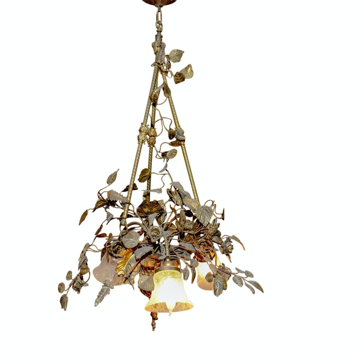 Brass Tole Chandelier