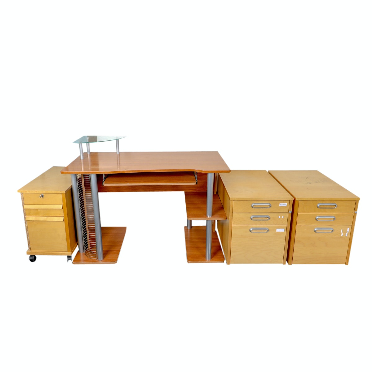Contemporary Computer Desk and File Cabinets