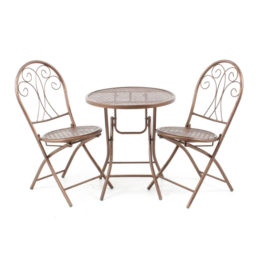 Copper Tone Metal Patio Set ... - Copper Tone Metal Patio Set : EBTH