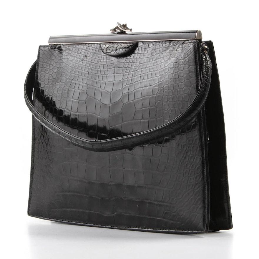5a3df112a5c5 Vintage Lucille de Paris for Bergdorf Goodman Crocodile and Marcasite  Handbag   EBTH