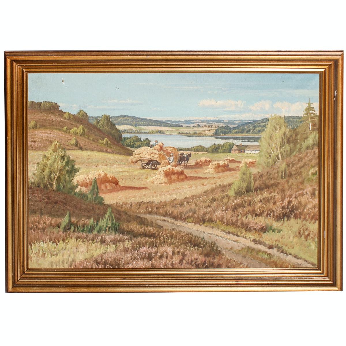 1944 Pastoral Landscape Painting