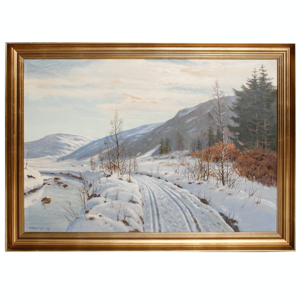 Dannerfjord Oil Painting of Tracks Through Snow
