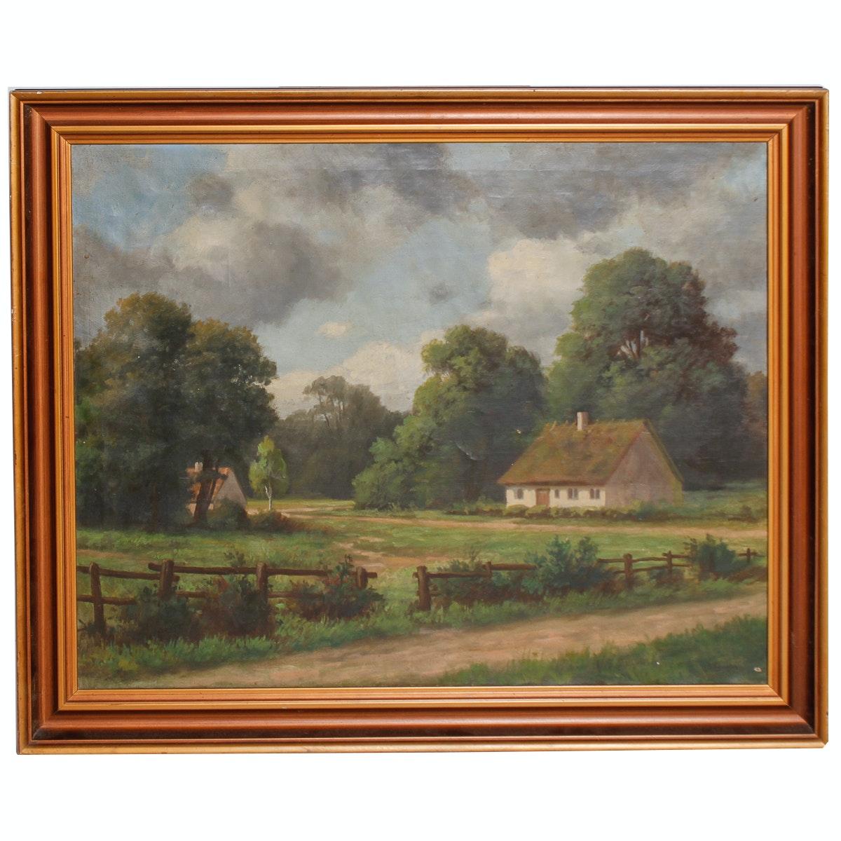 Danish Farm Landscape Oil on Canvas