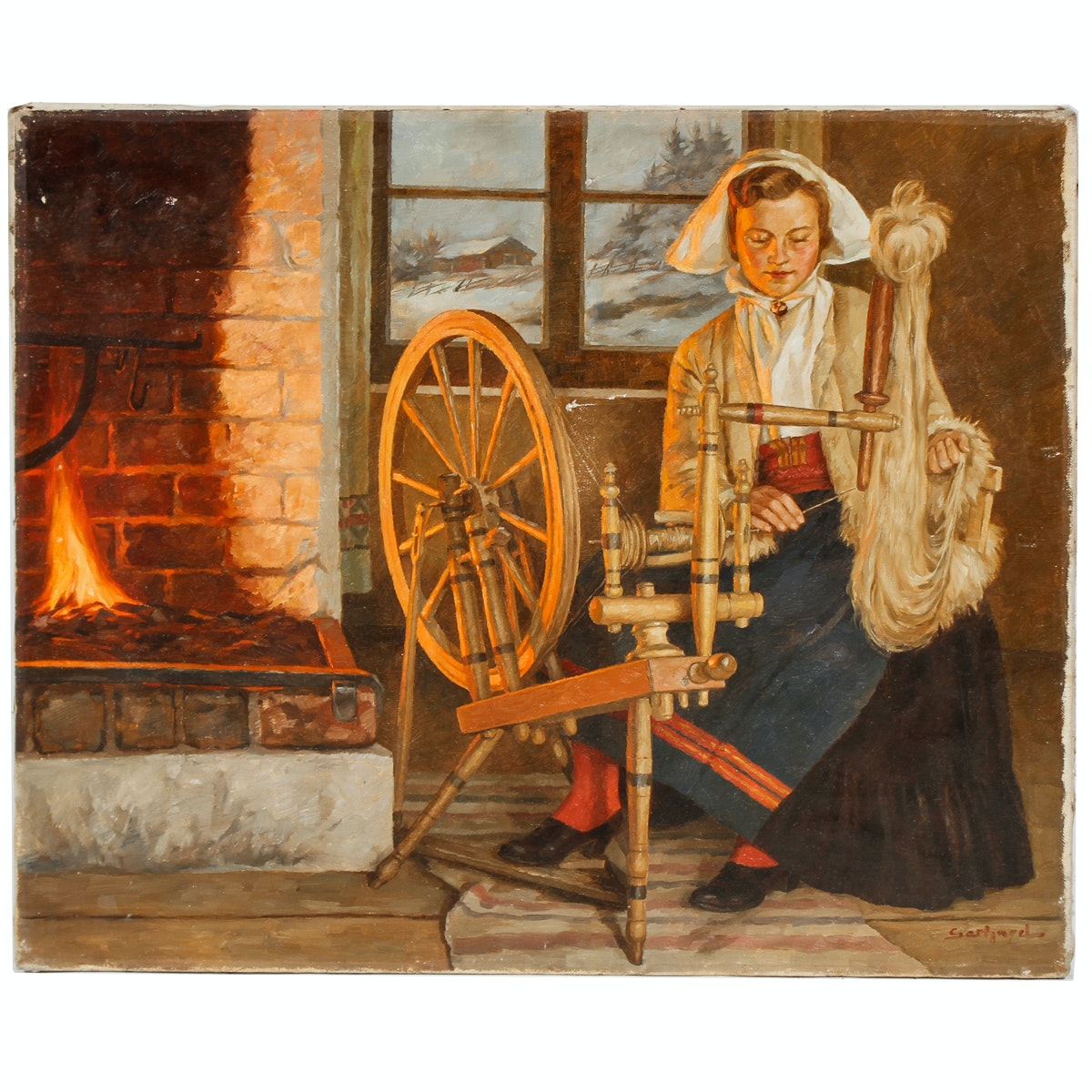 Gerhard Oil Painting of a Woman Spinning Yarn