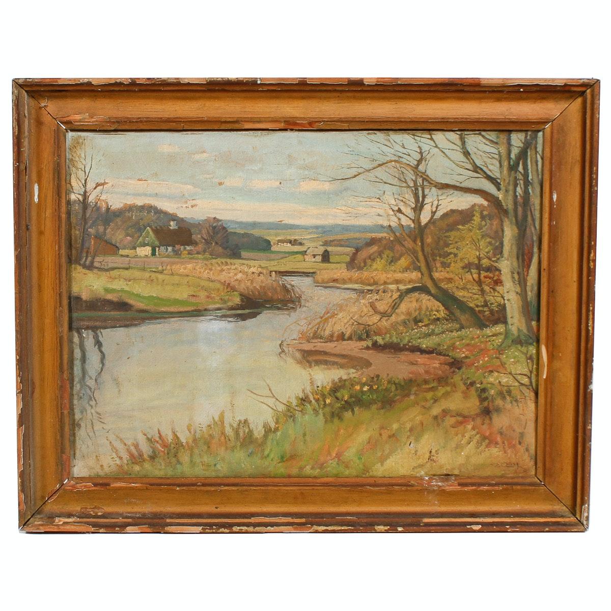 M. P. 1939 Landscape Oil Painting