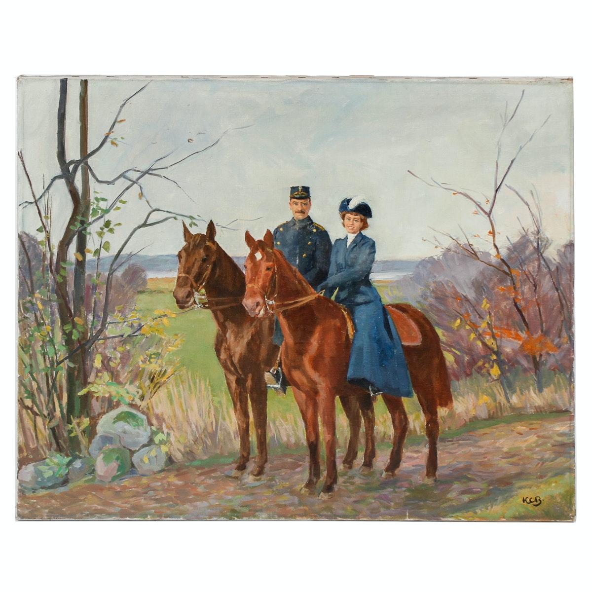 KCB Horse Portrait Oil Painting