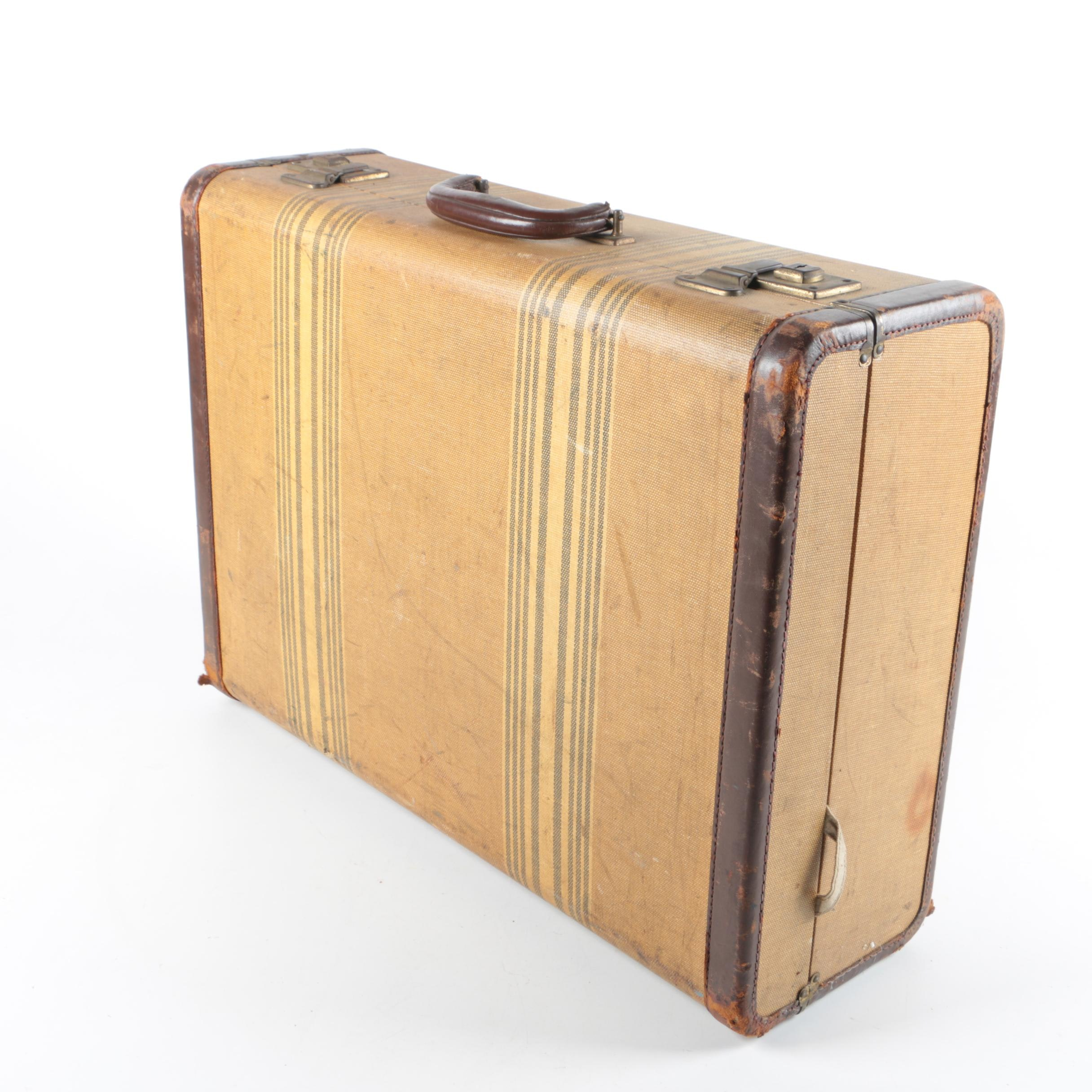 Vintage Coated Canvas and Leather Pullman Case