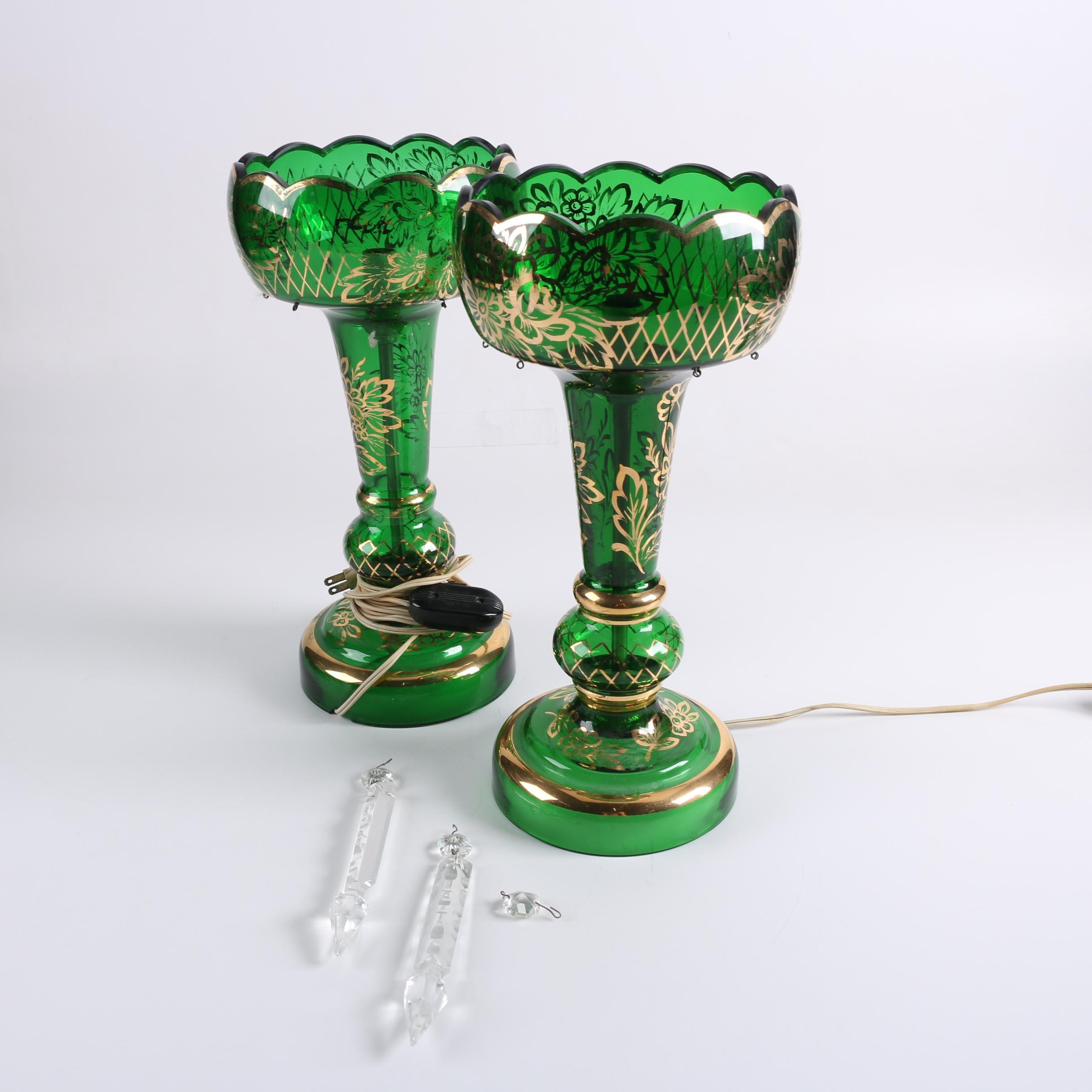 Converted Emerald Green Bohemian Glass Mantel Lustre  Lamps
