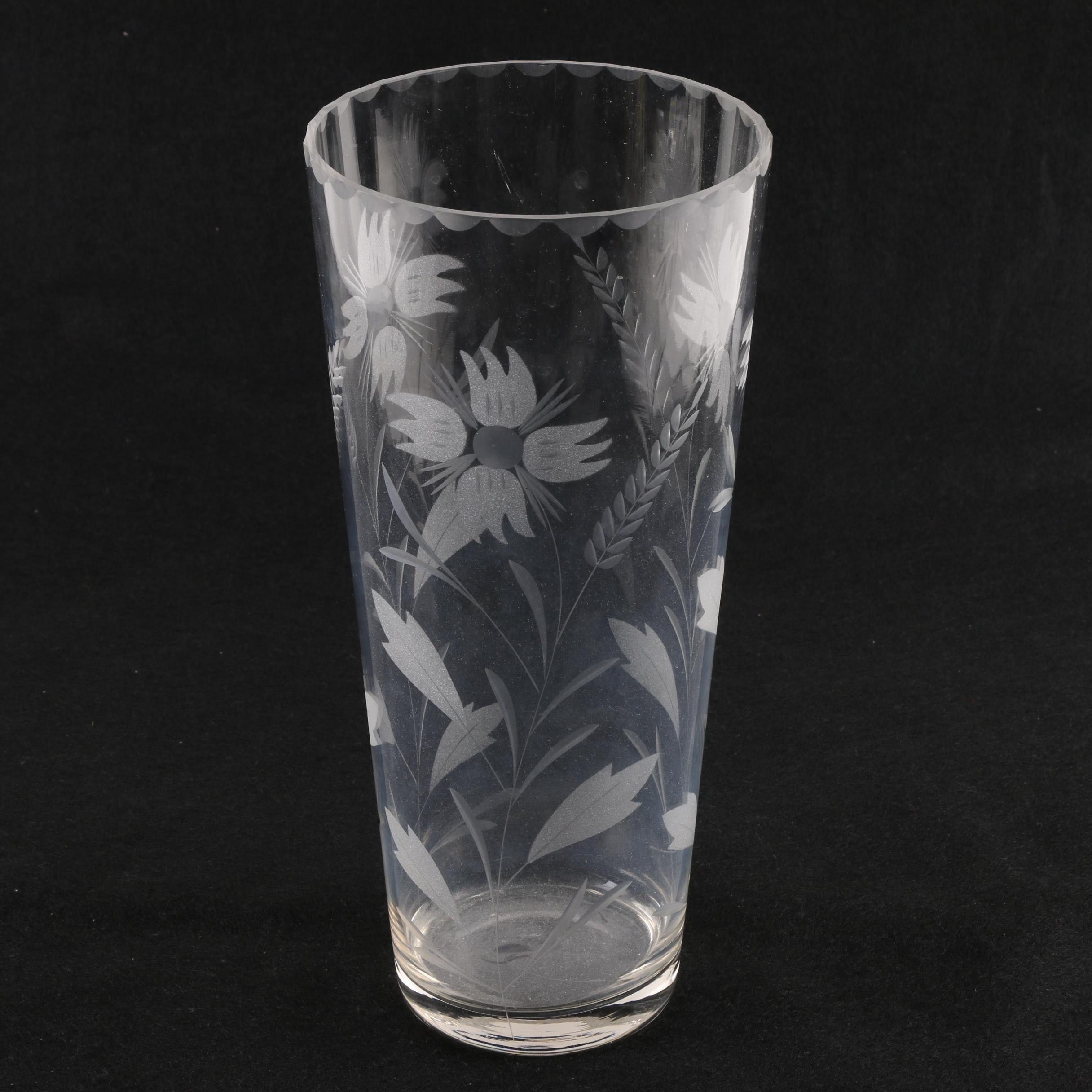 Glass Vase with Etched Floral Motif