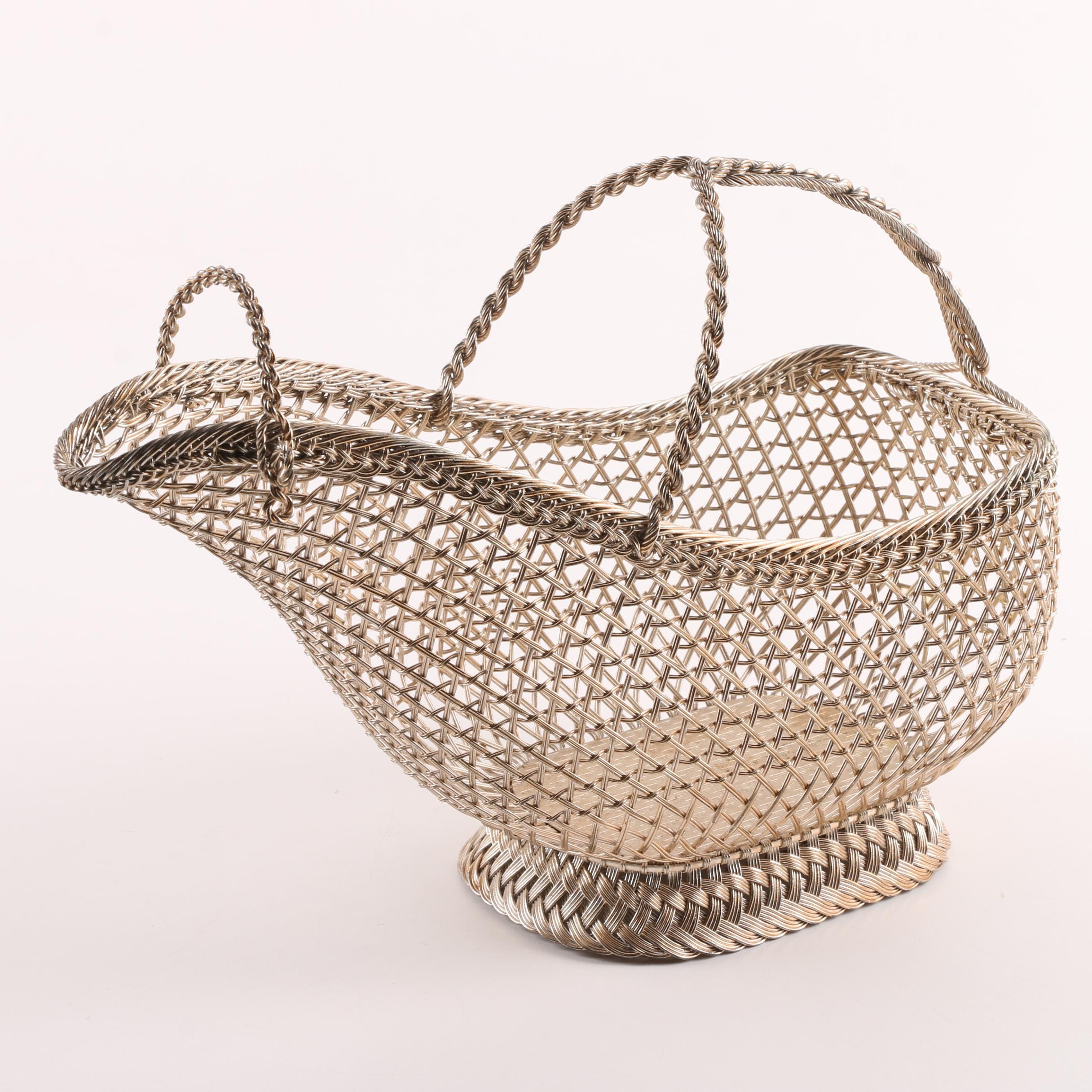 French Gold Tone Metal Basket