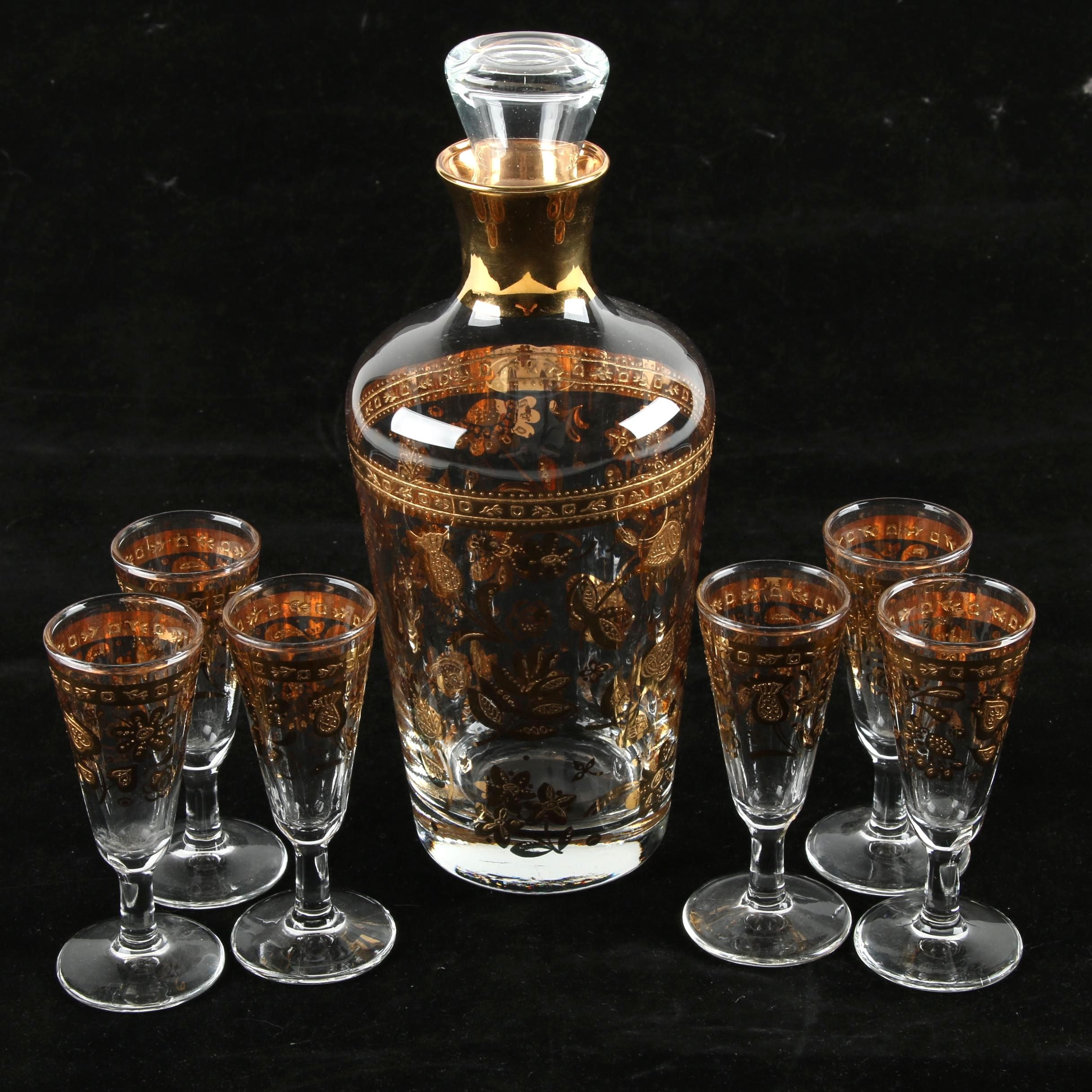 Vintage Gilt Decanter and Cordials