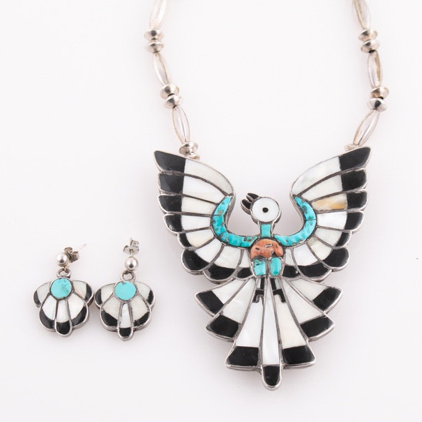 Sterling Silver Multi-Stone Peyote Bird Pendant Necklace and Earrings