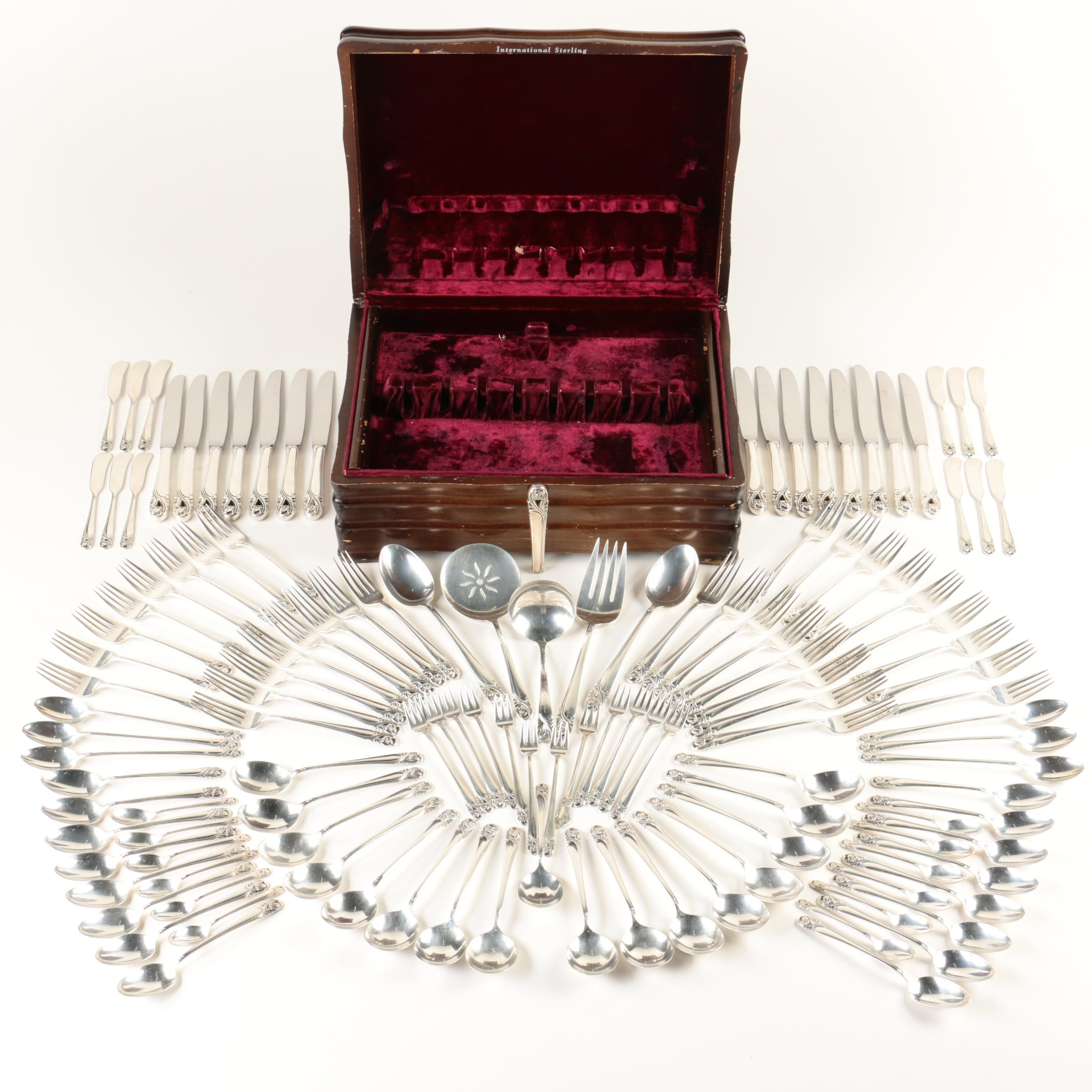 "International Silver Co. ""Spring Glory"" Sterling Silver Flatware Set"