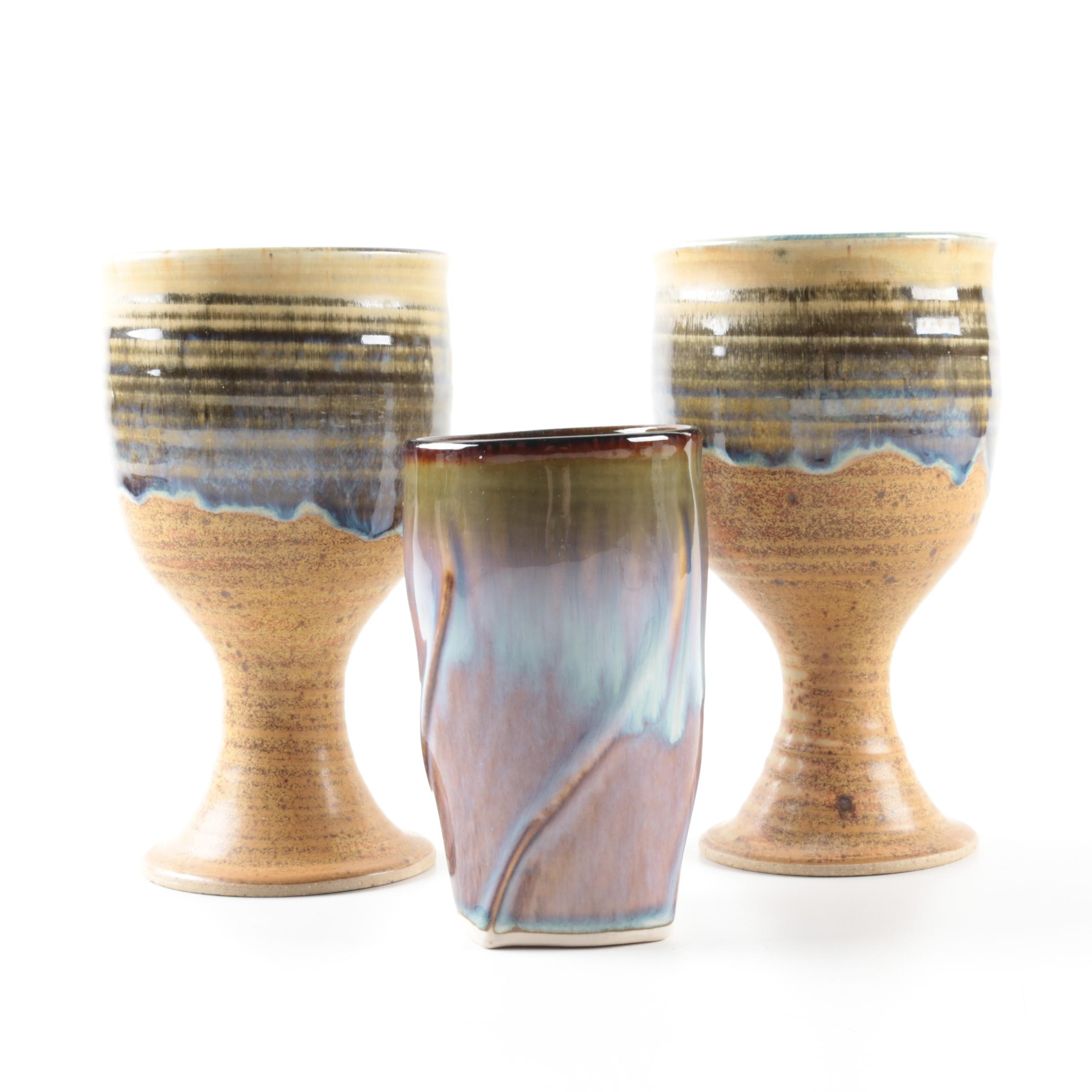 Art Pottery Chalices and a Cup