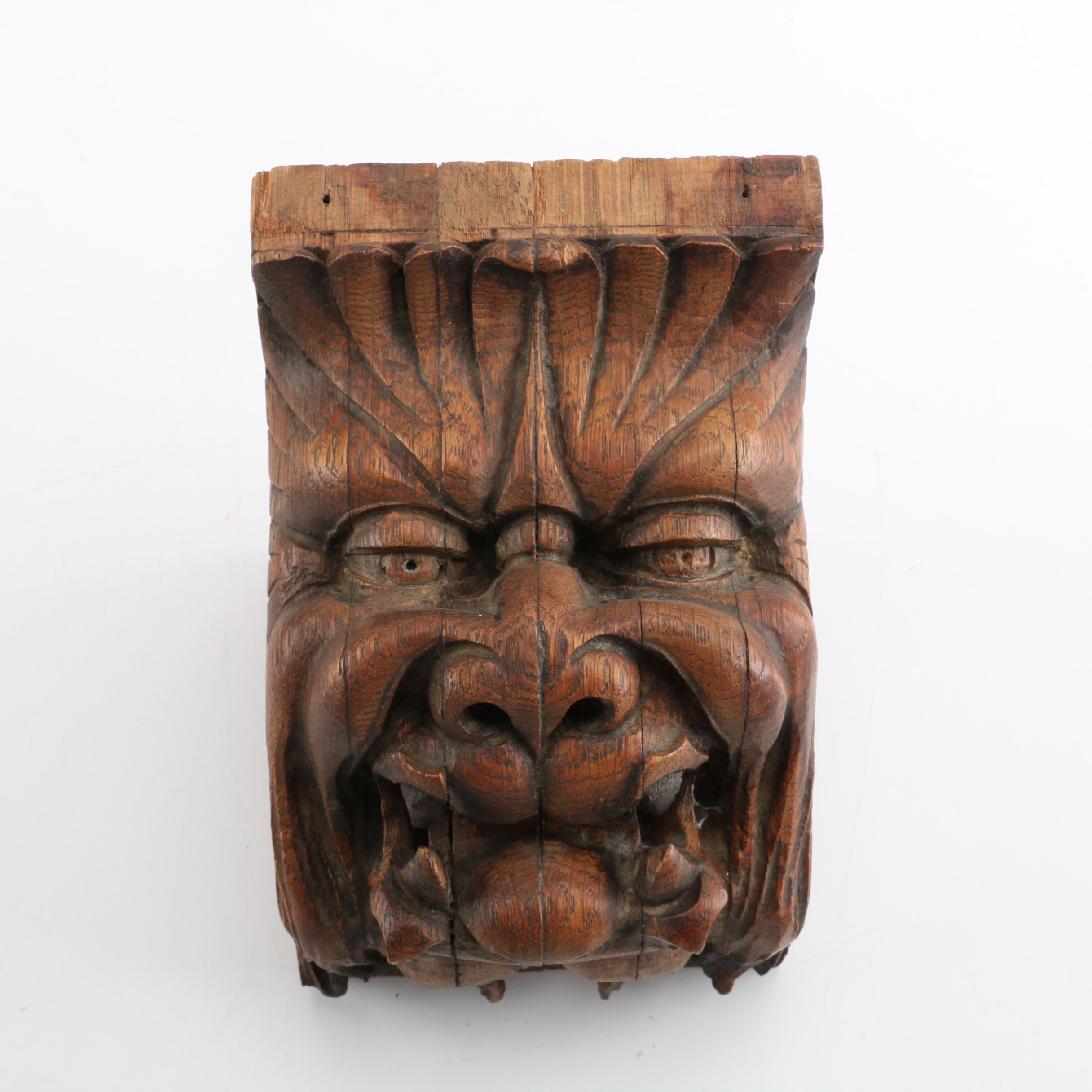 Antique Carved Oak Grotesque Corbel