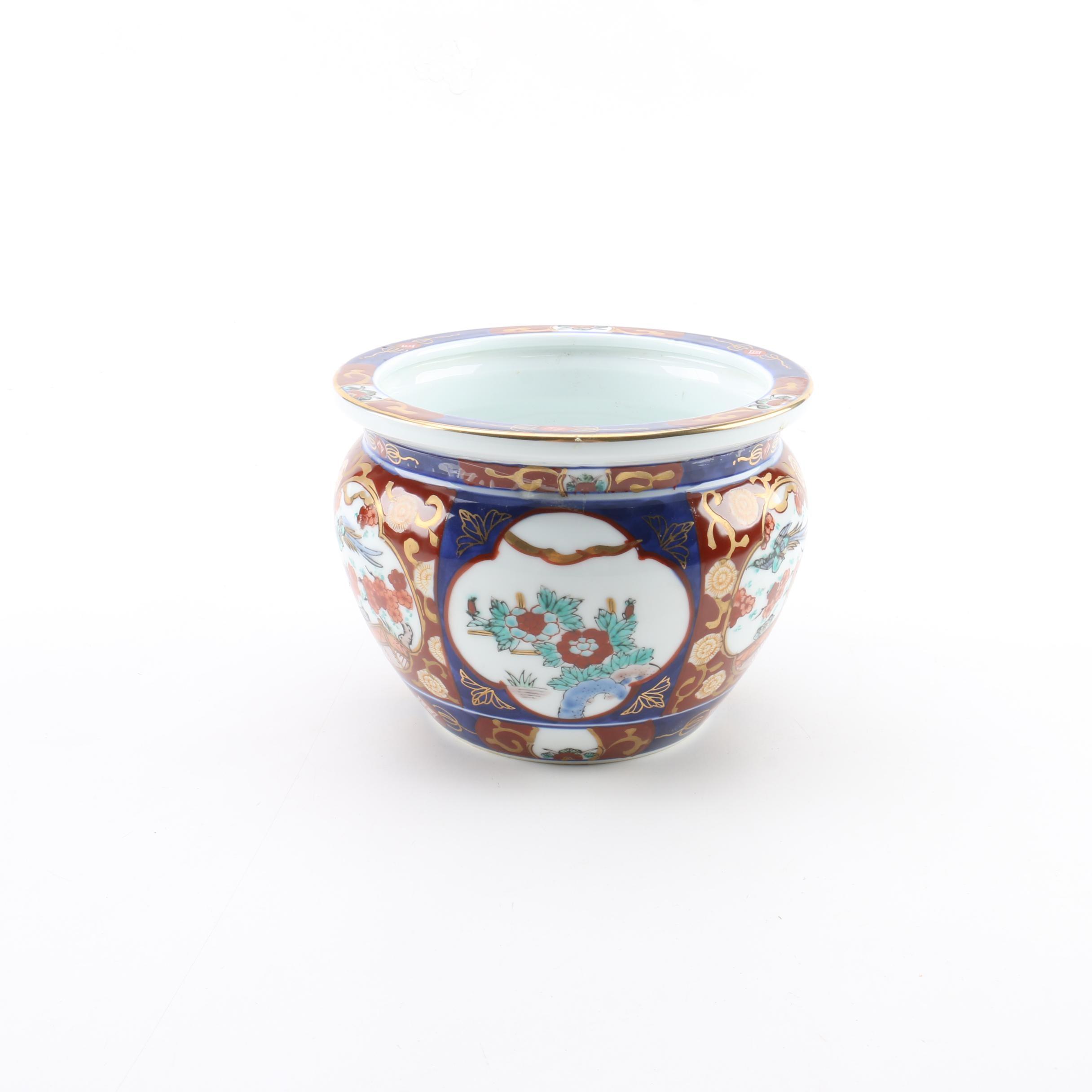 Gold Imari Hand-Painted Japanese Porcelain Jardiniere
