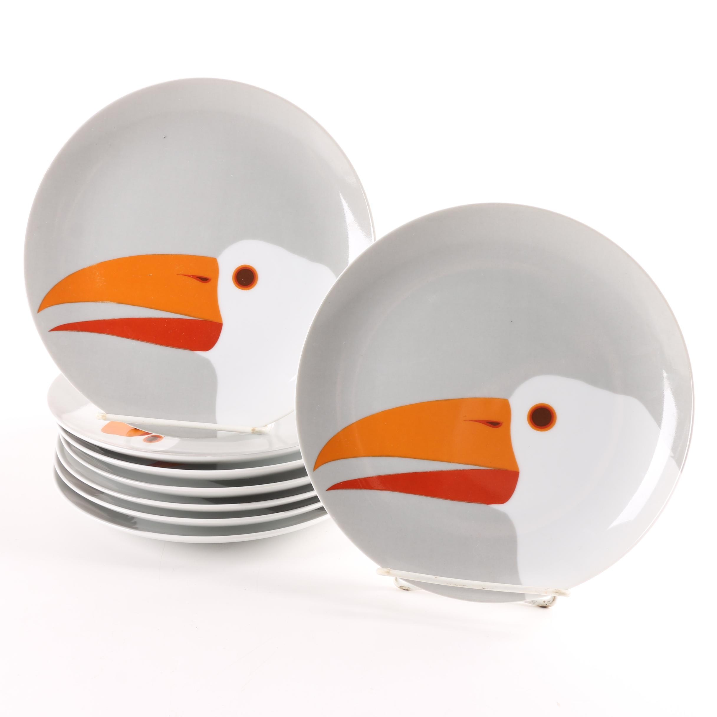 """Fitz and Floyd """"Birds of a Feather"""" Grey Porcelain Salad Plates"""