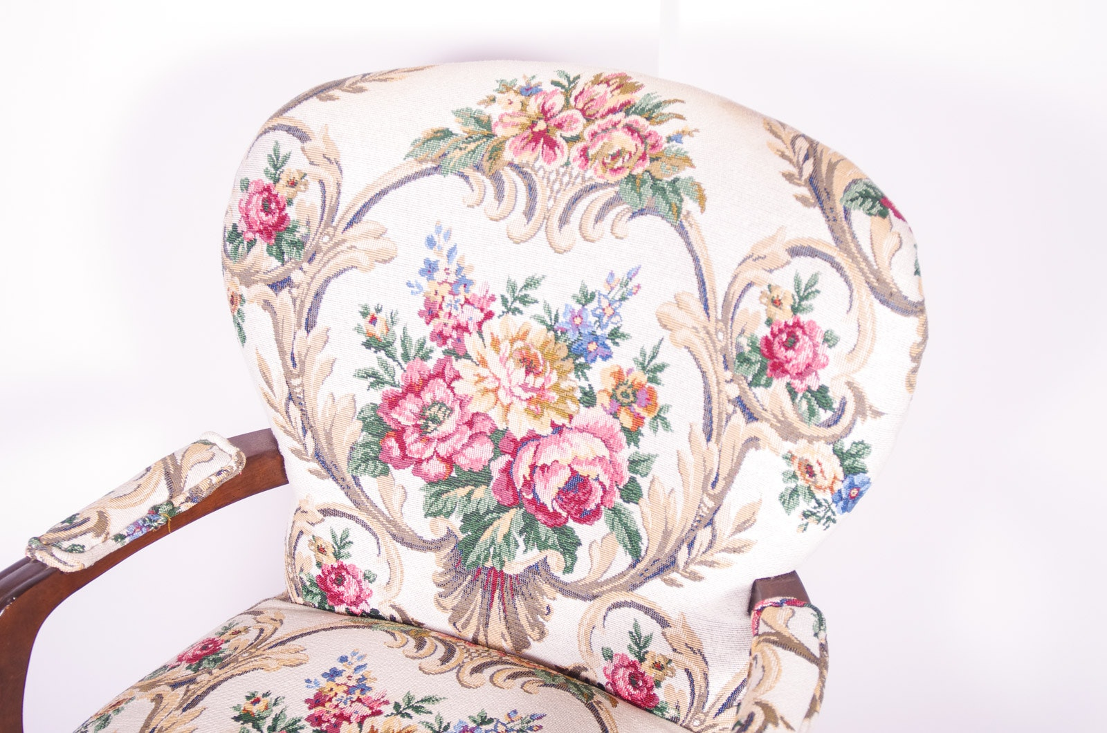Upholstered Floral Arm Chair