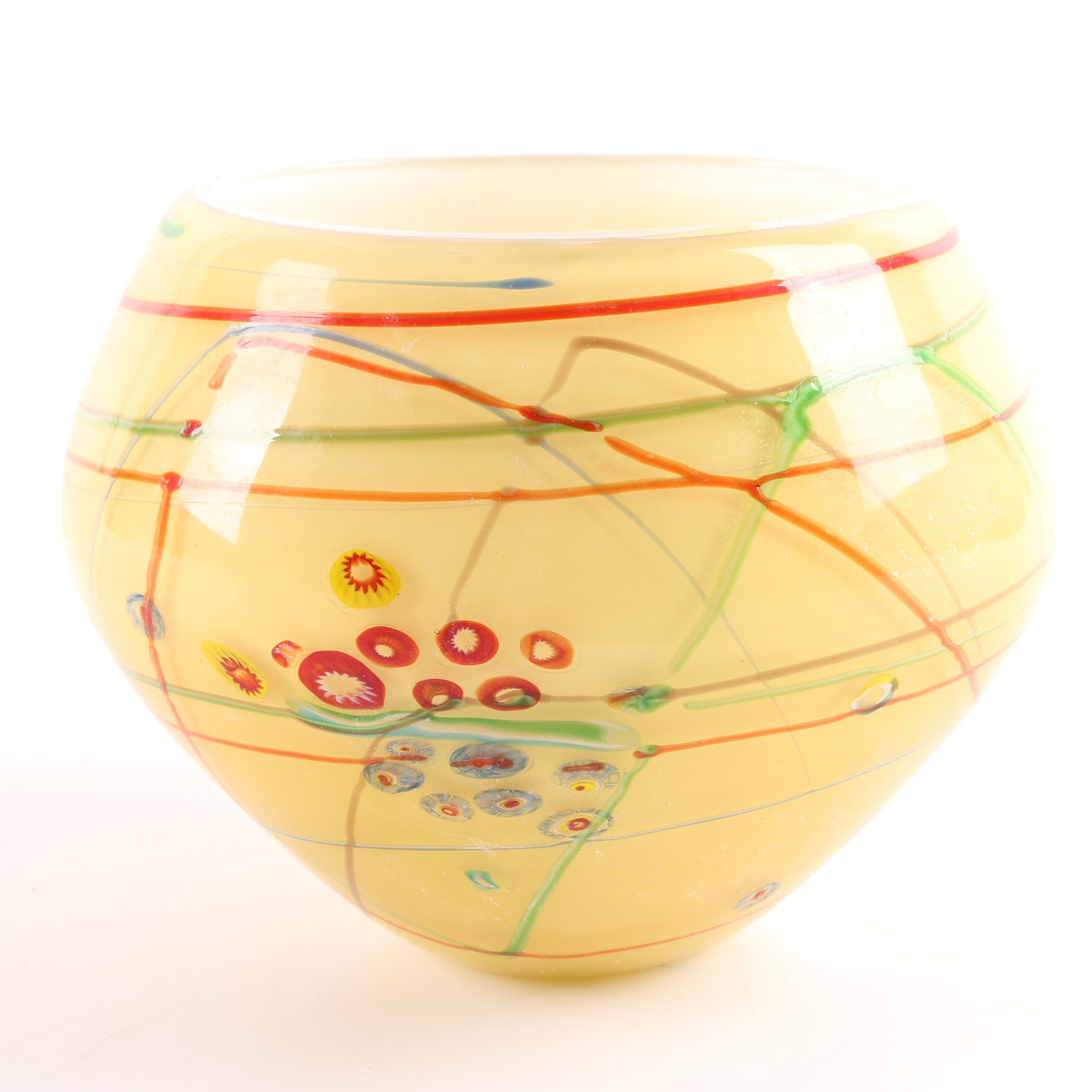 Art Glass Bowl with Colorful Trailing Motif