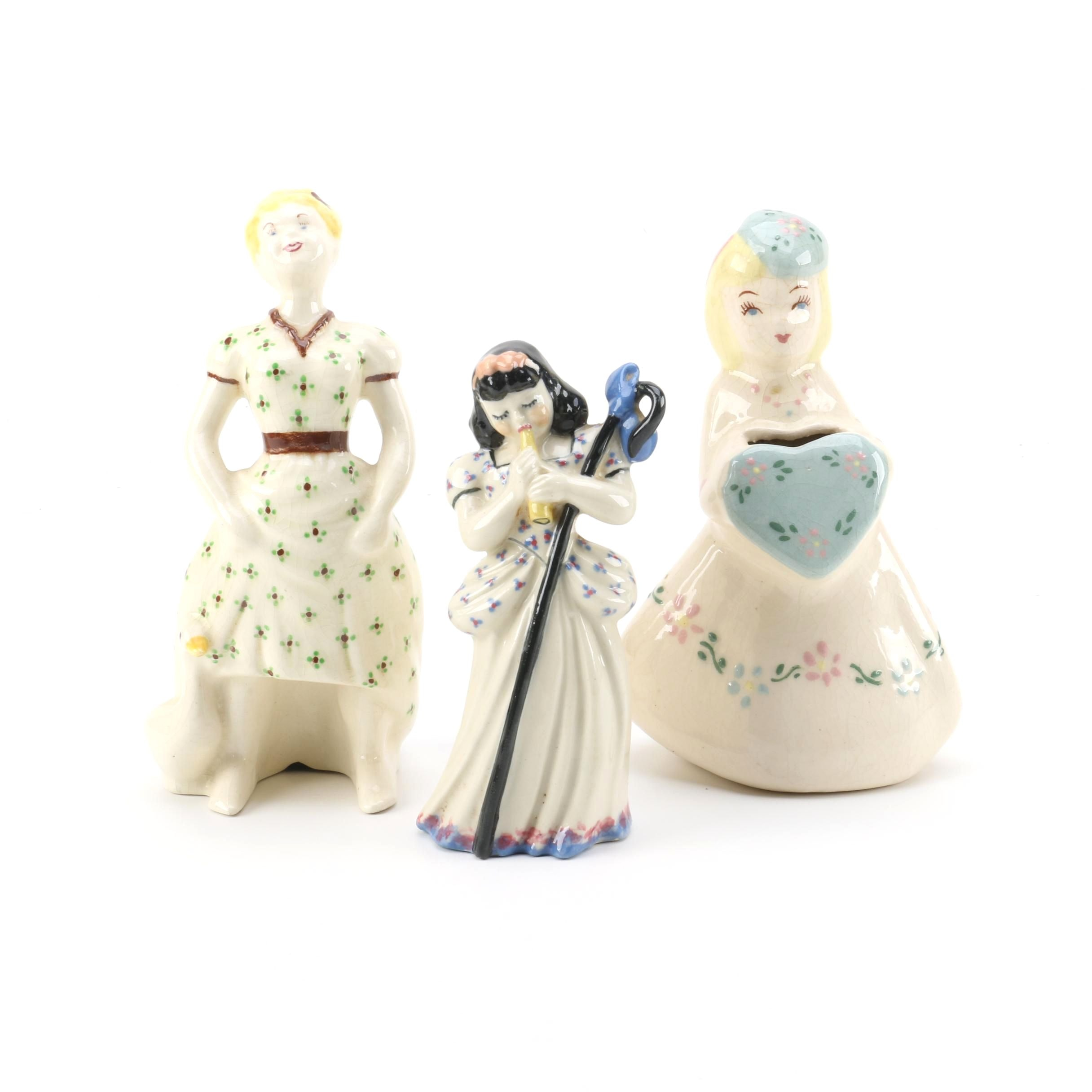 Goose Gal, Flute Girl and Heart Girl Figurines
