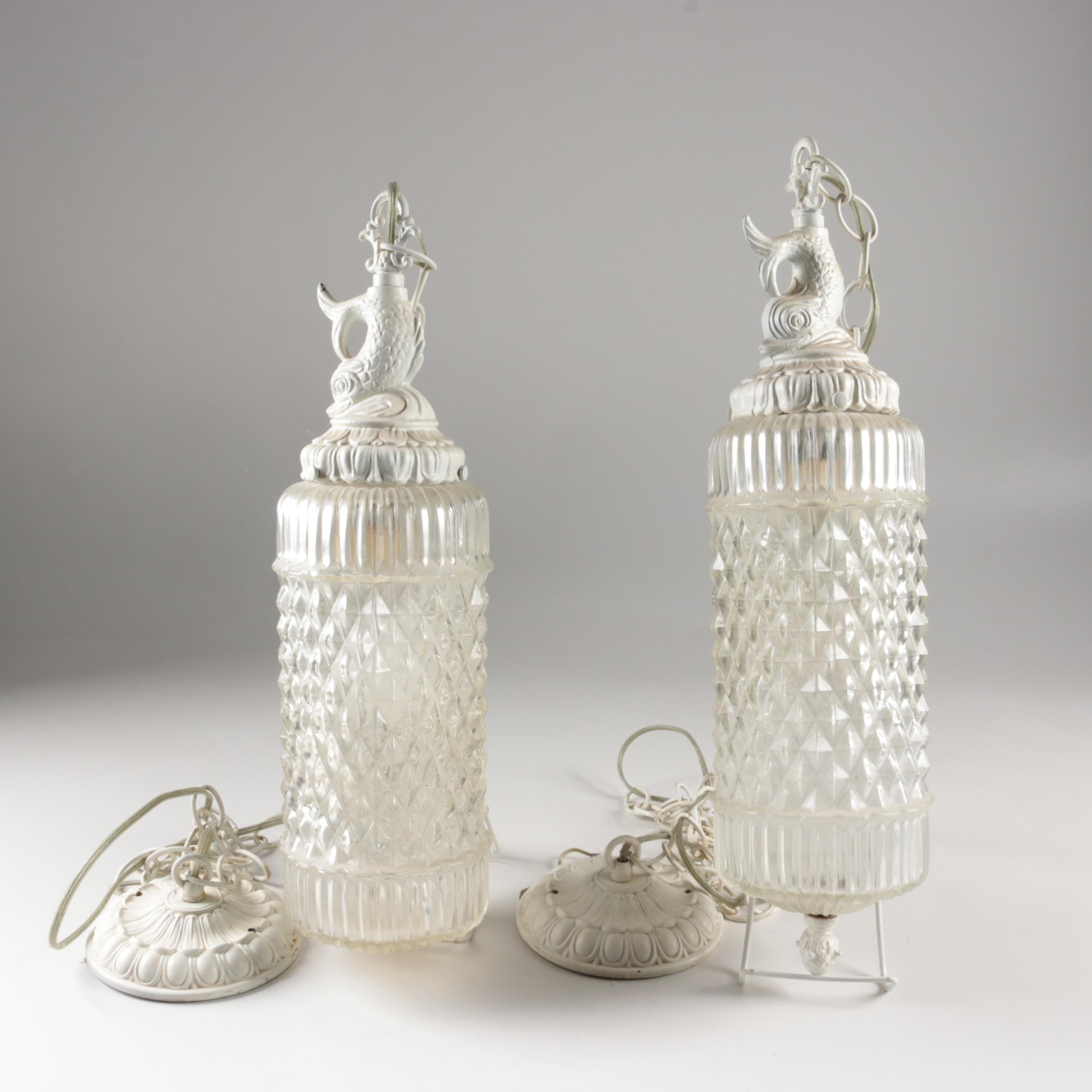 Vintage Pressed Glass Dolphin Pendants Lights