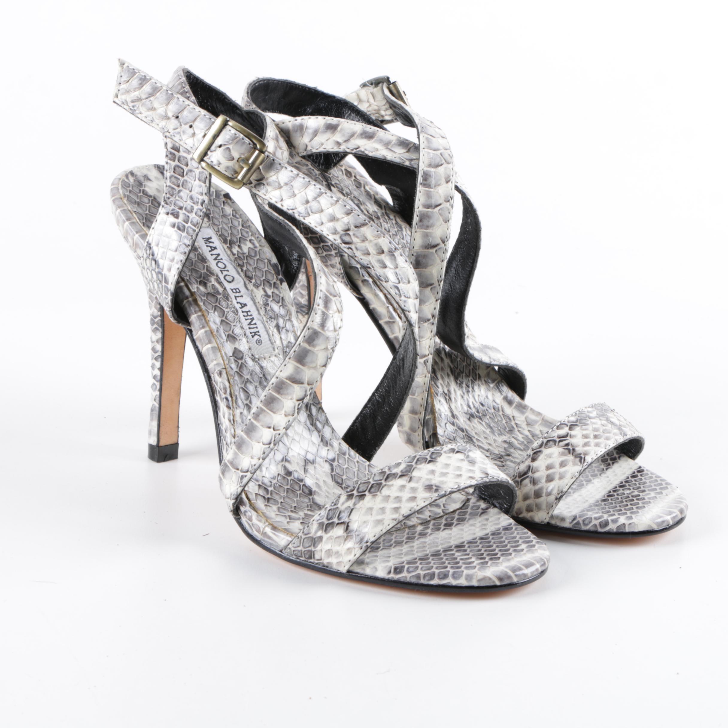 Manolo Blahnik Python Skin Cross Strap Heels