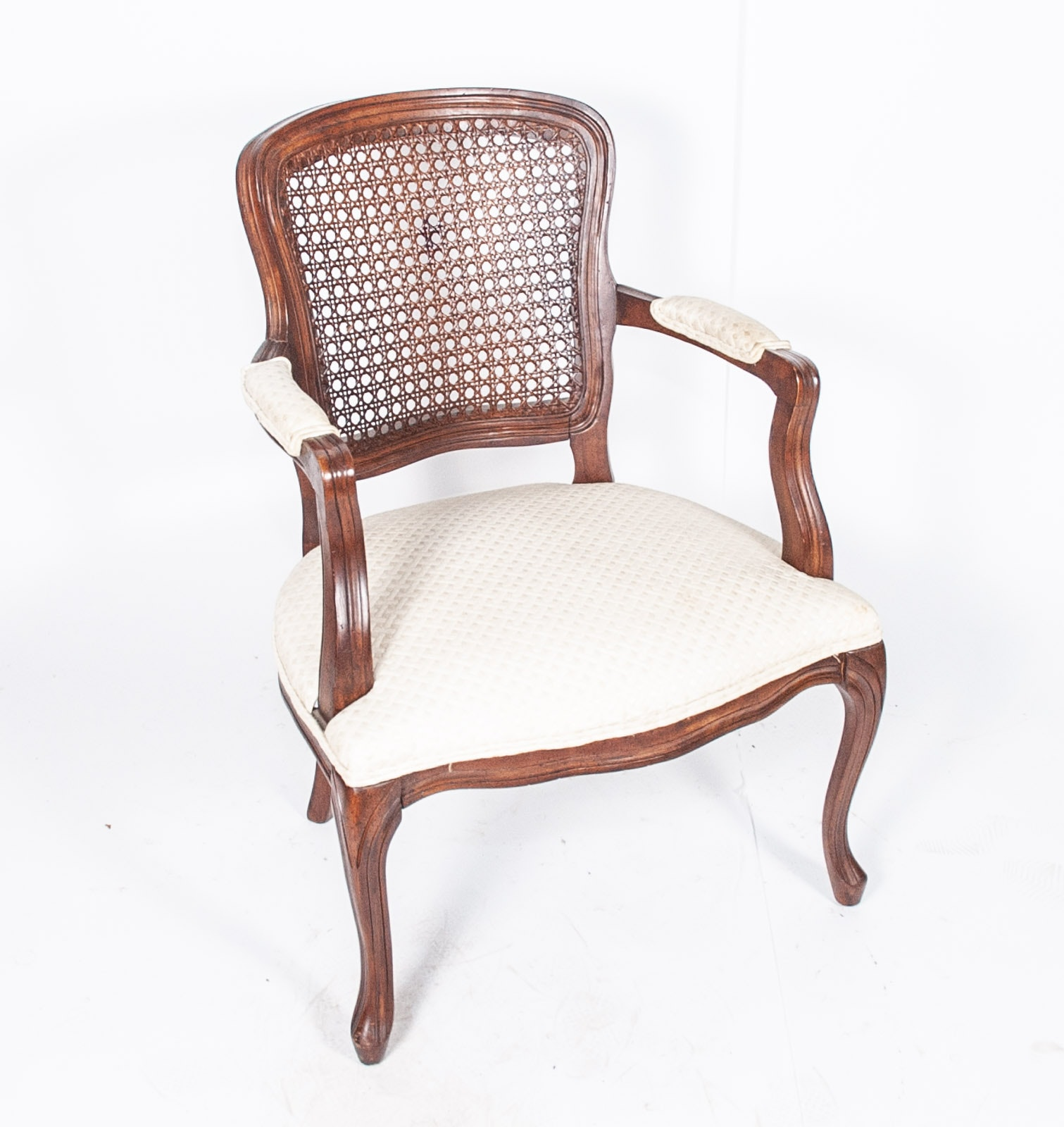 French Provincial Style Cane Back Arm Chair