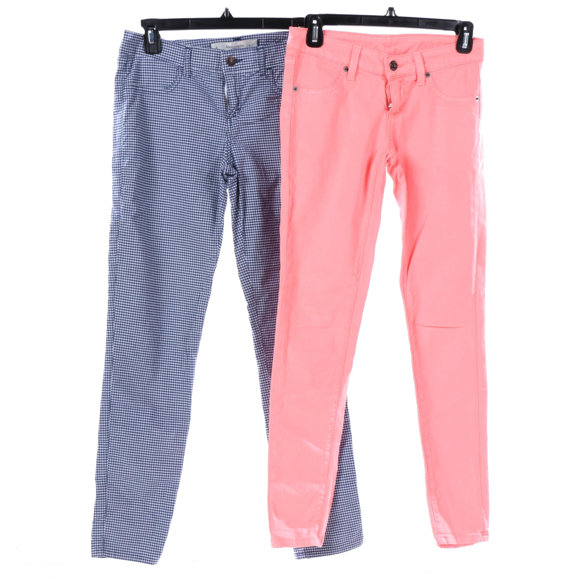 Women's Carmar Coral-Colored and Abercrombie & Fitch Gingham Pants