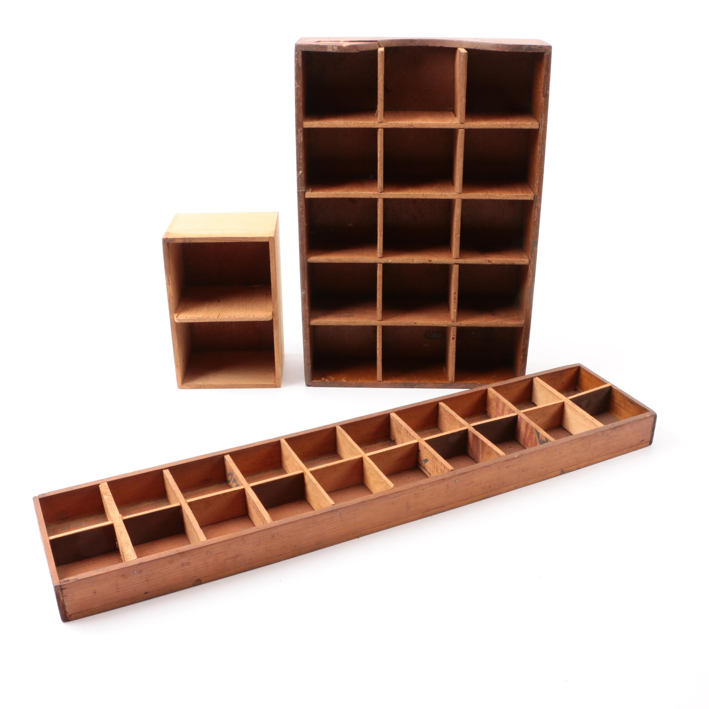 Vintage Wood Display Shelves