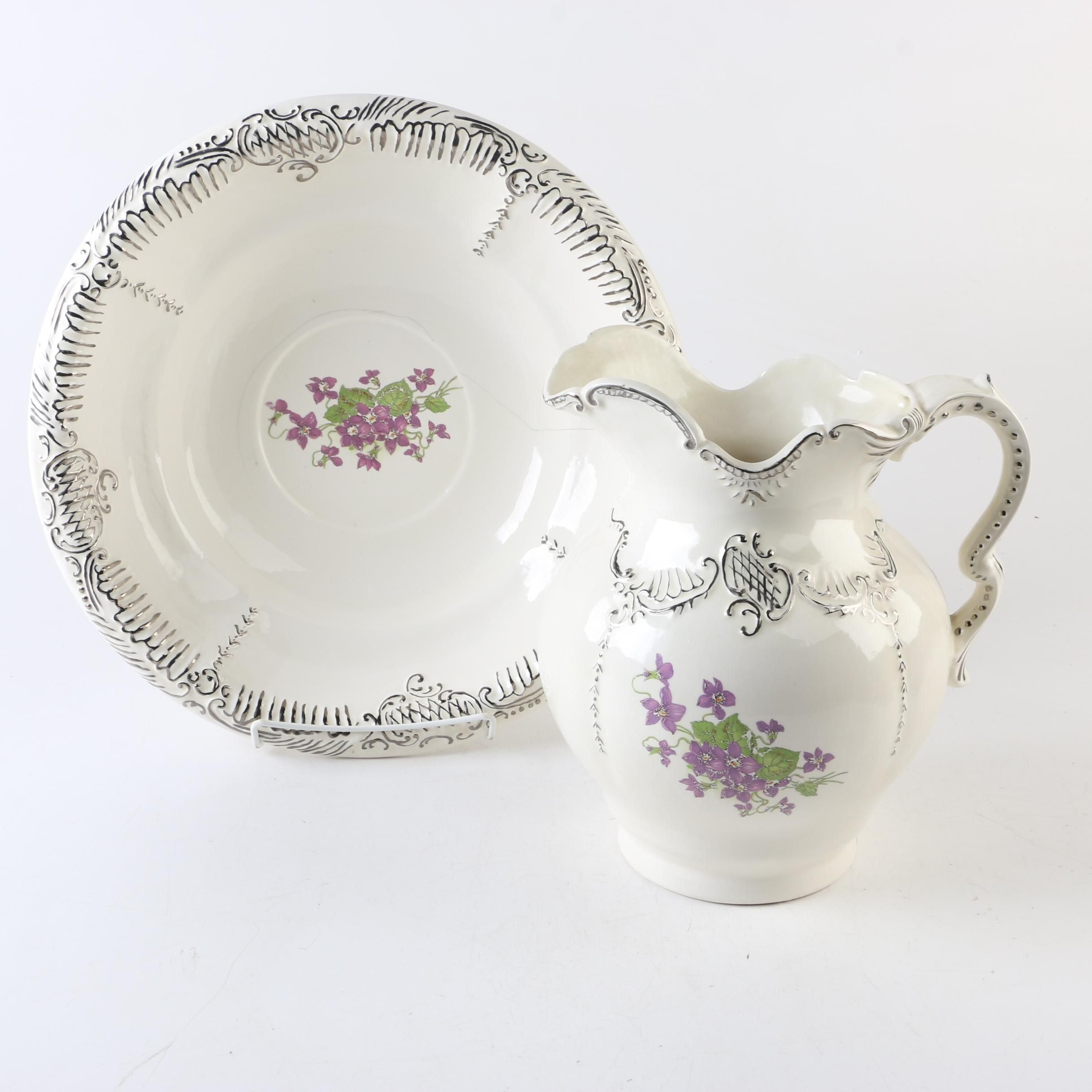 Superior Ceramic Floral Motif Bowl and Pitcher
