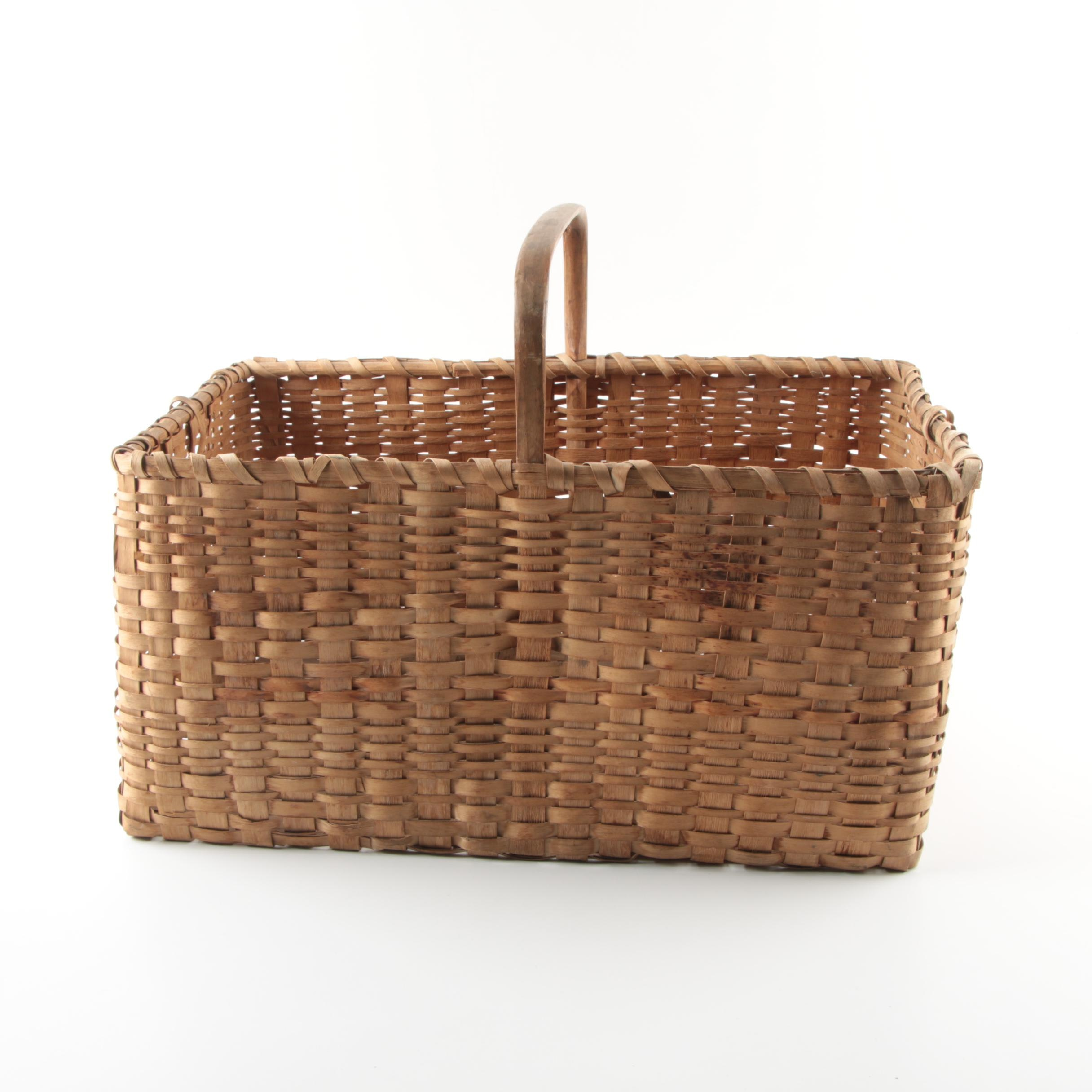 Antique Reed Handled Basket