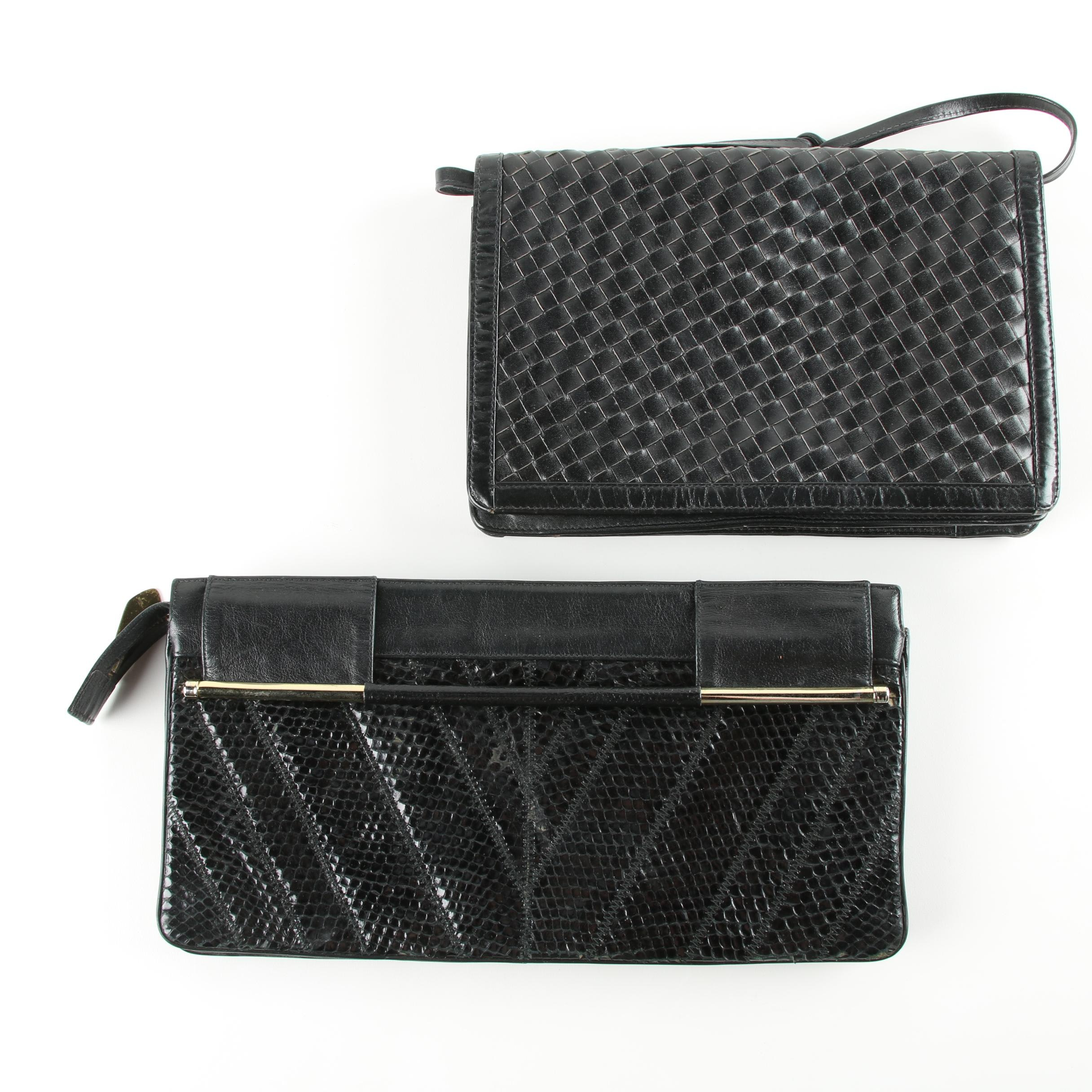 Vintage Snakeskin and Woven Leather Handbags