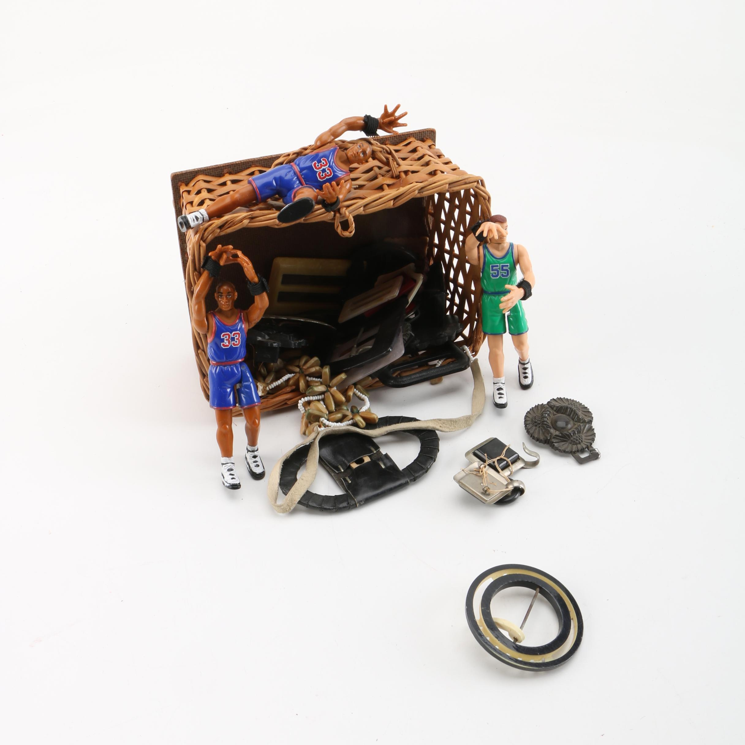 Basket With Vintage Buckles and Toy Basketball Player Figurines